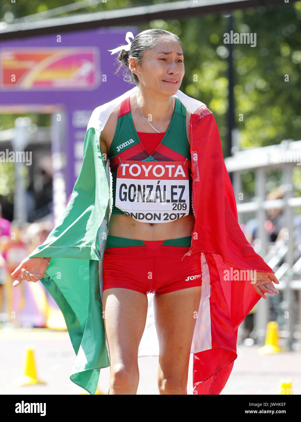 London, UK. 13th Aug, 2017.   Mexican athlete Marra Guadalupe Gonzalez reacts after winning silver in the women's Stock Photo
