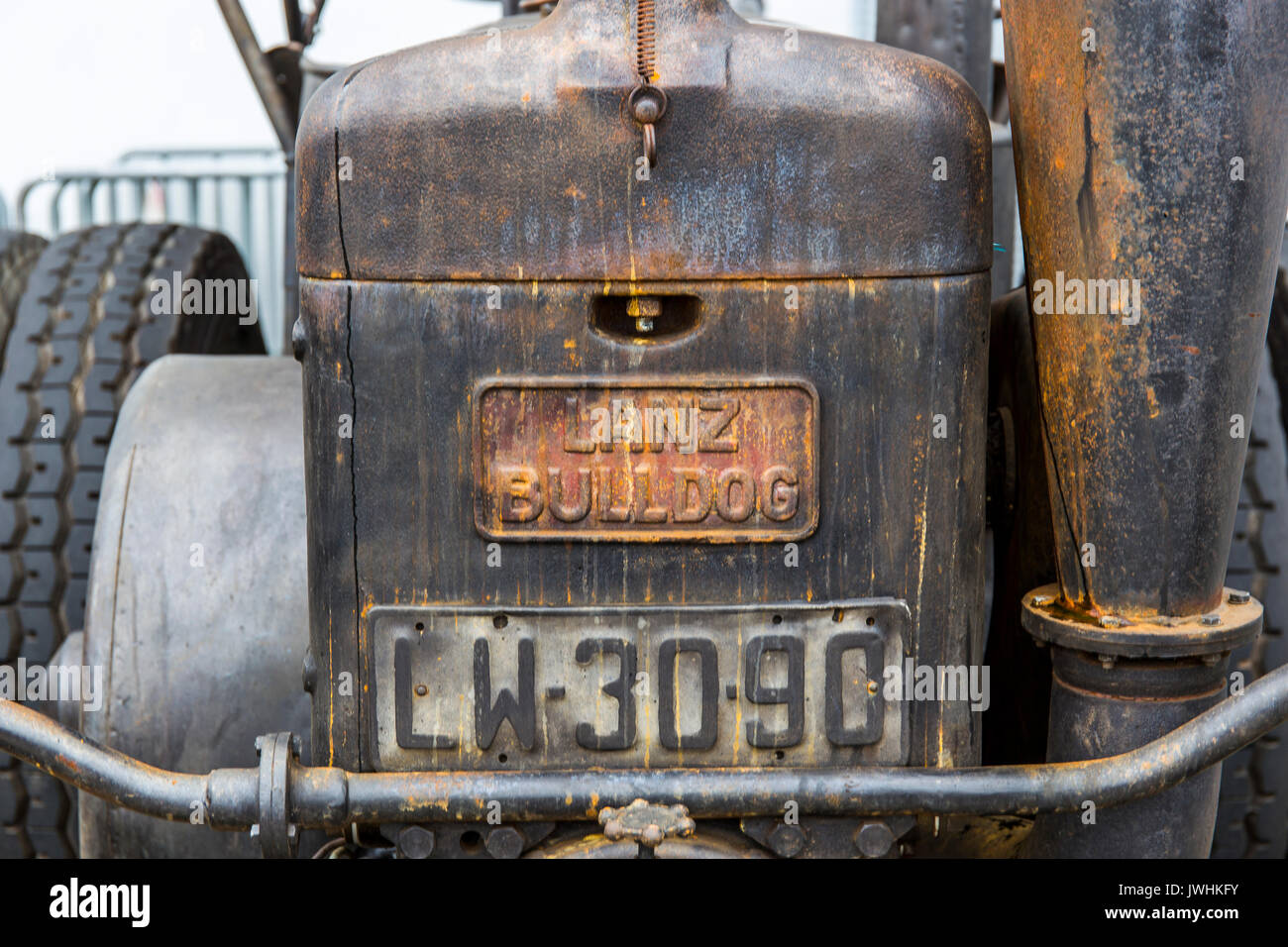 Bielsko-Biala, Poland. 12th Aug, 2017. International automotive trade fairs - MotoShow Bielsko-Biala. Front of an old Lanz Bulldog german tractor. Credit: Lukasz Obermann/Alamy Live News - Stock Image