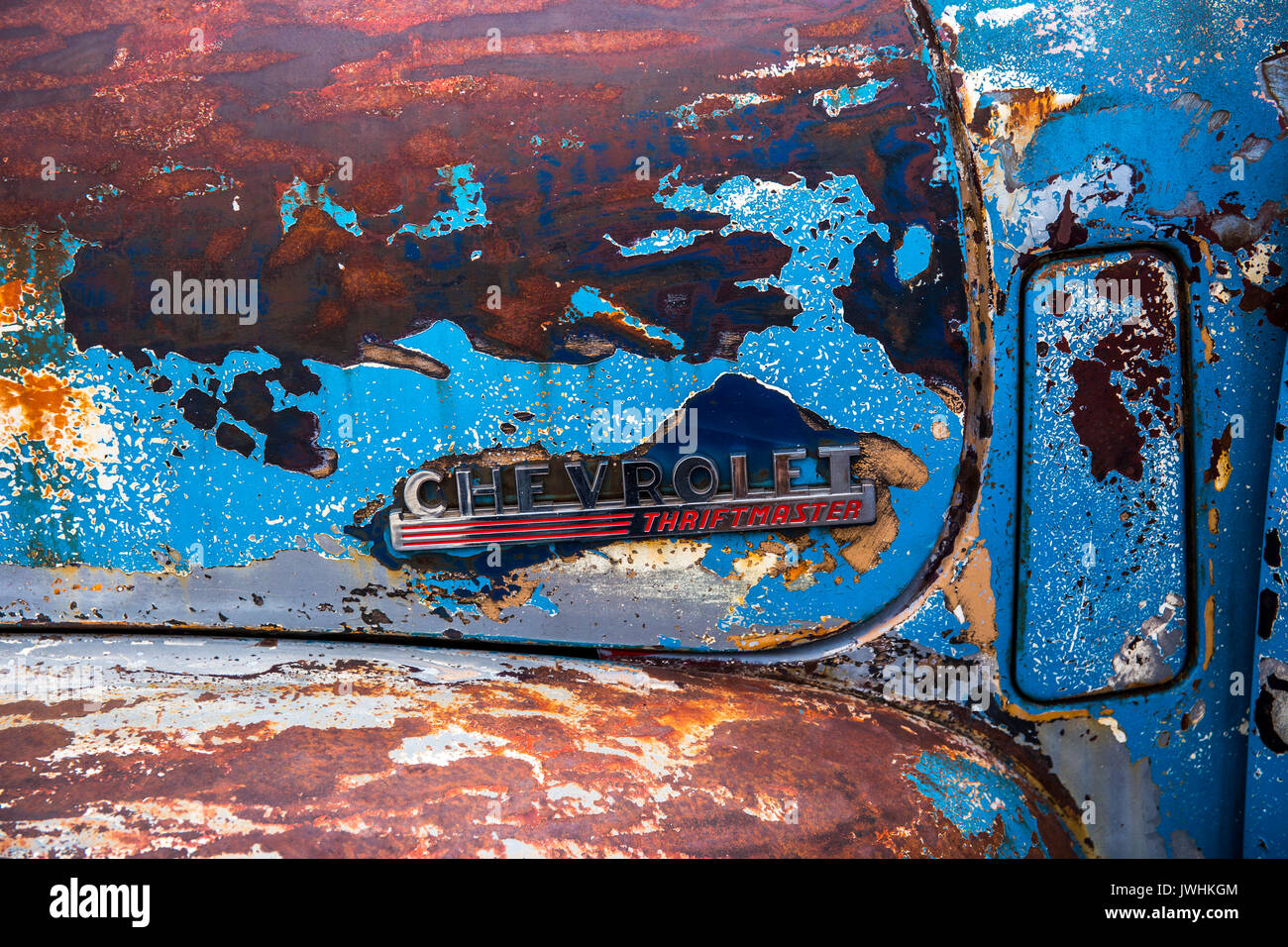 Bielsko-Biala, Poland. 12th Aug, 2017. International automotive trade fairs - MotoShow Bielsko-Biala. Chevrolet Thriftmaster caption on an old Chevrolet Thriftmaster. Credit: Lukasz Obermann/Alamy Live News - Stock Image