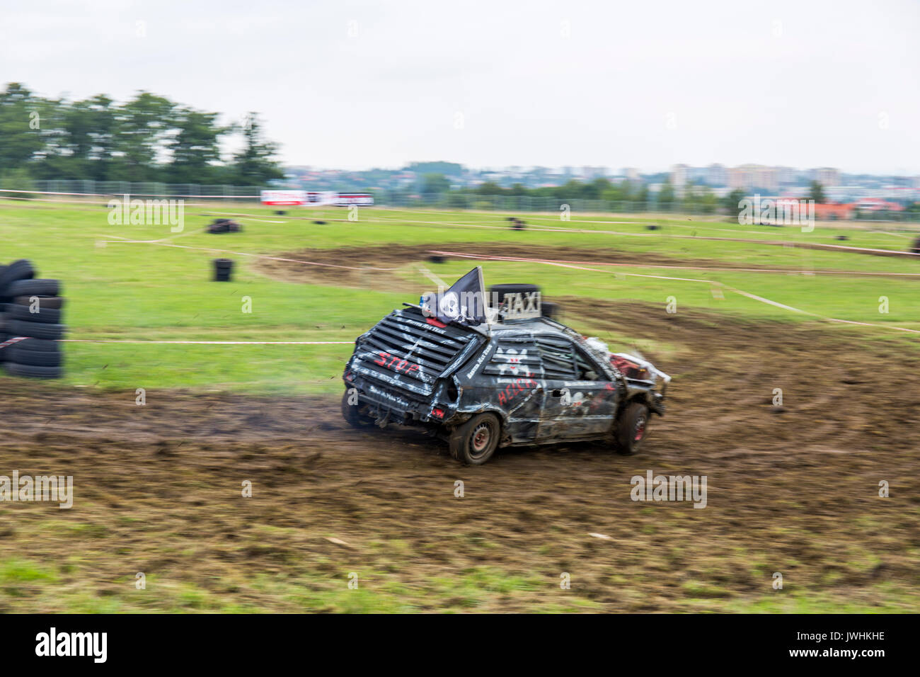 Bielsko-Biala, Poland. 12th Aug, 2017. International automotive trade fairs - MotoShow Bielsko-Biala. Wreck car Stock Photo