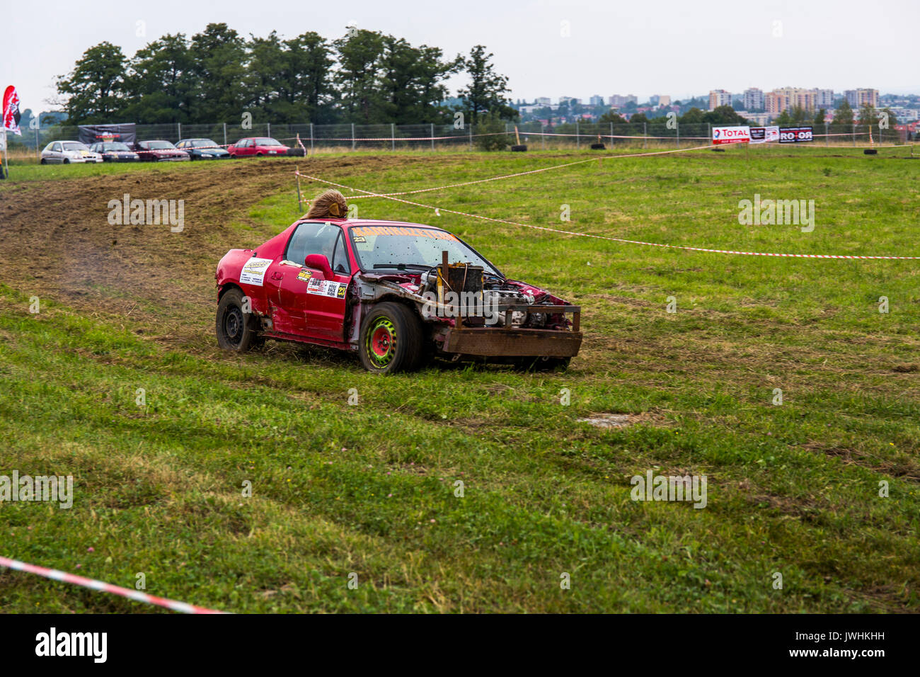 Bielsko-Biala, Poland. 12th Aug, 2017. International automotive trade fairs - MotoShow Bielsko-Biala. Wreck car Stock Photo