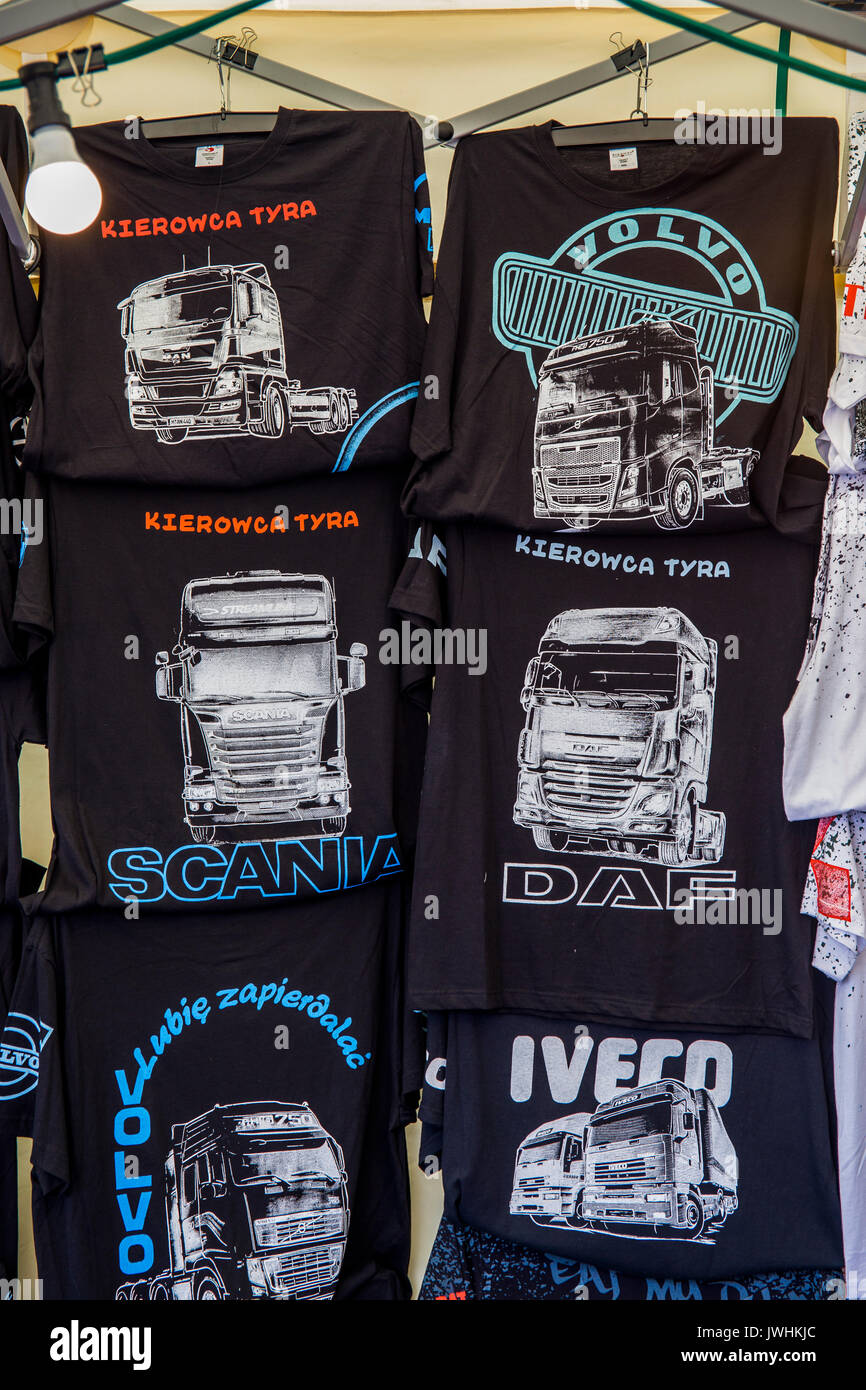 Bielsko-Biala, Poland. 12th Aug, 2017. International automotive trade fairs - MotoShow Bielsko-Biala. T-shirts for sale with truck drawings. Credit: Lukasz Obermann/Alamy Live News - Stock Image