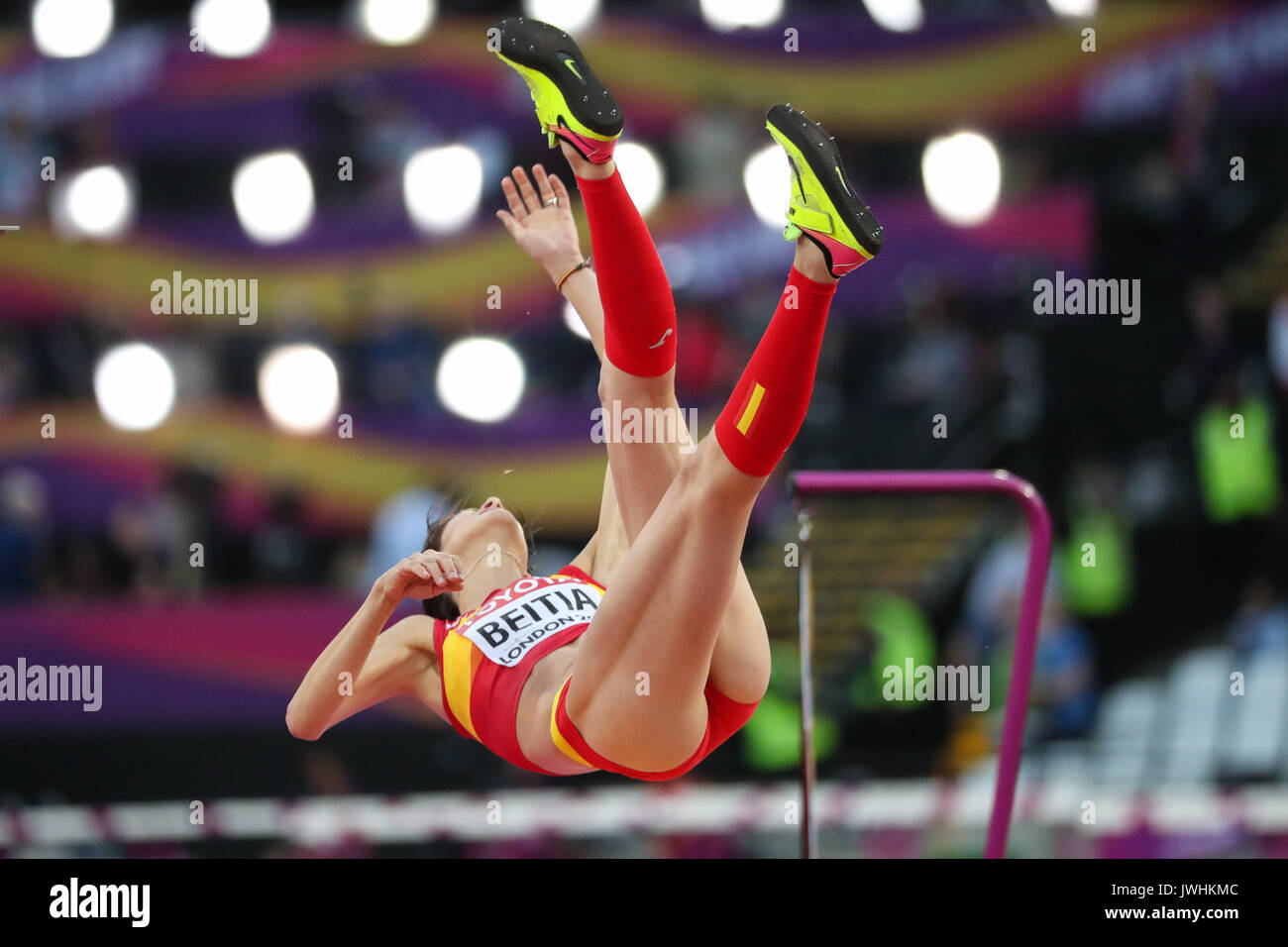 Ruth Beitia, Spain, in the women's high jump final on day nine of the IAAF London 2017 world Championships at the London Stadium. © Paul Davey. - Stock Image