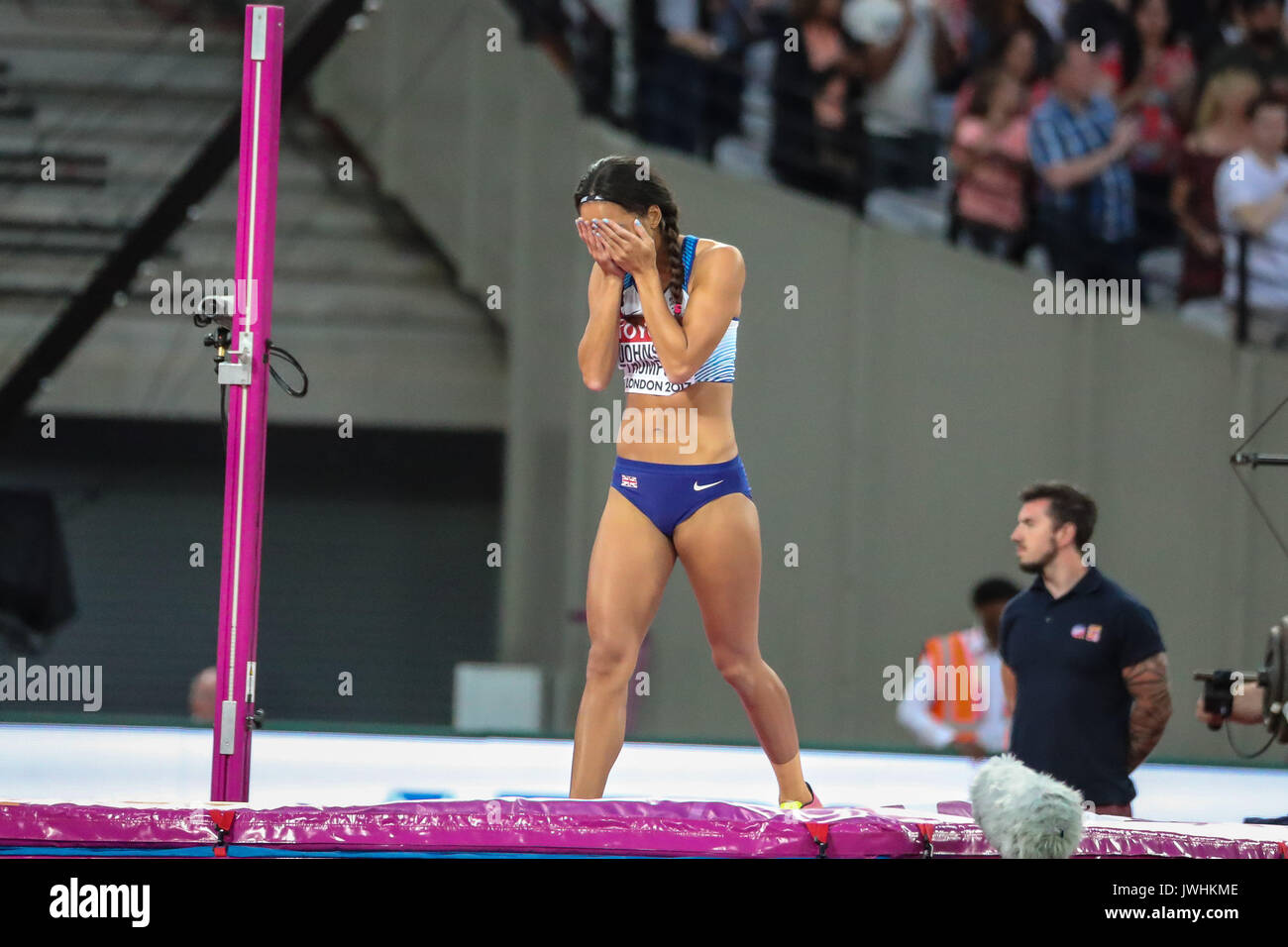 Katarina Johnson-Thompson, Great Britain, goes out of the women's high jump final on day nine of the IAAF London 2017 world Championships at the London Stadium. © Paul Davey. - Stock Image