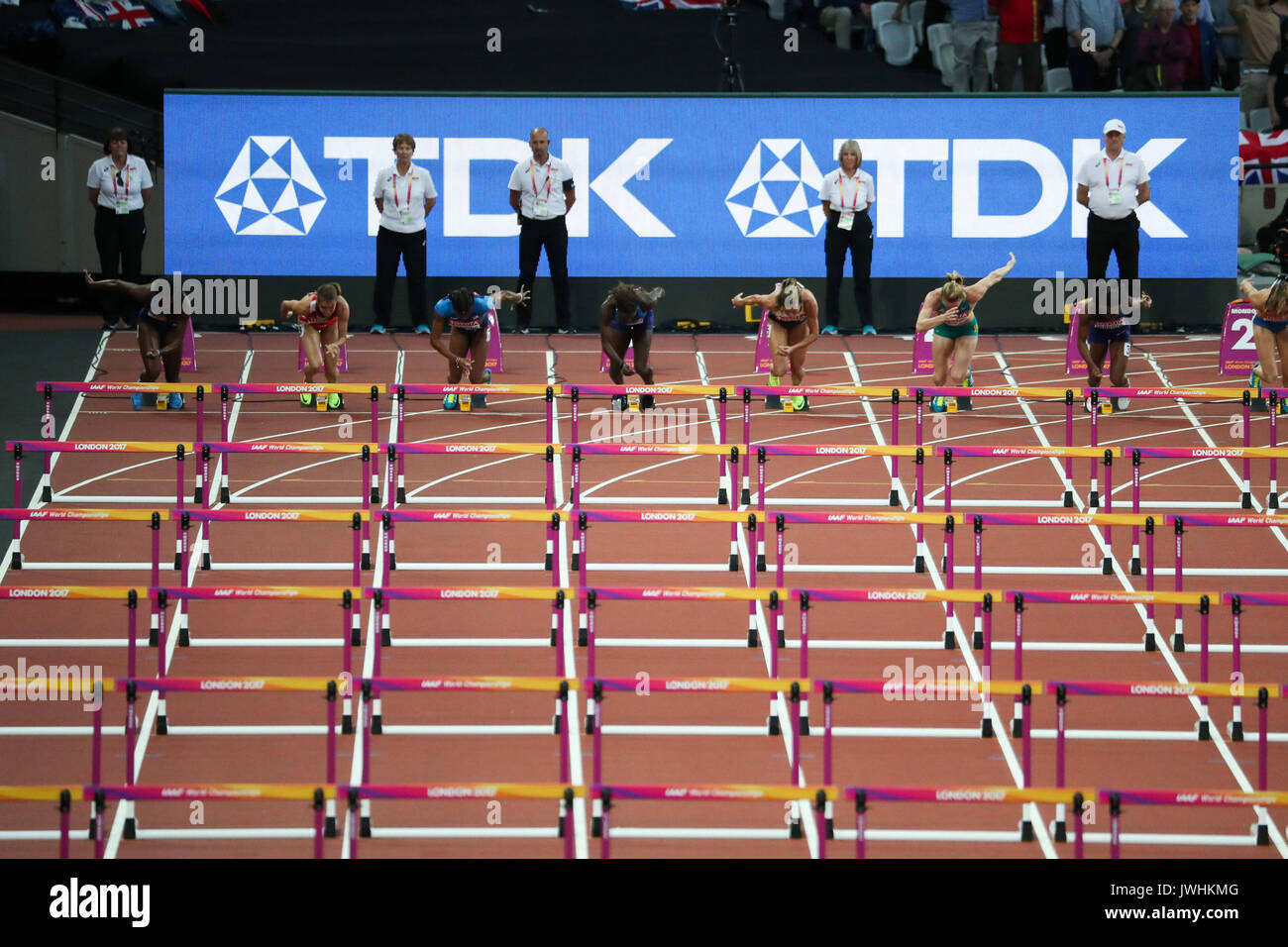 The Women's 100m hurdles final gets underway on day nine of the IAAF London 2017 world Championships at the London Stadium. © Paul Davey. - Stock Image