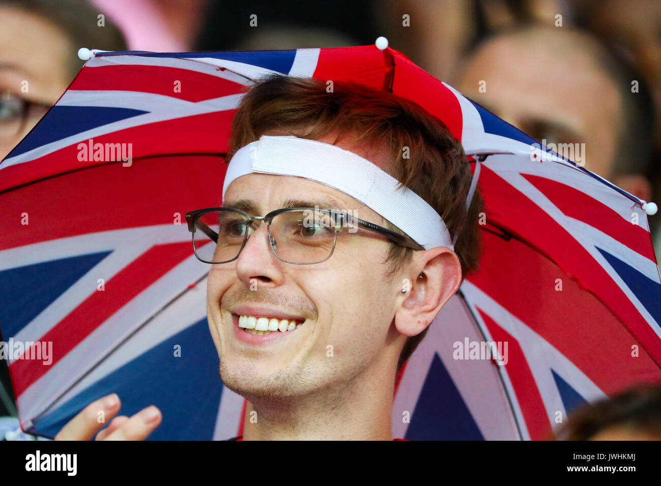 A Great Britain supporter in the crowd on day nine of the IAAF London 2017 world Championships at the London Stadium. © Paul Davey. - Stock Image