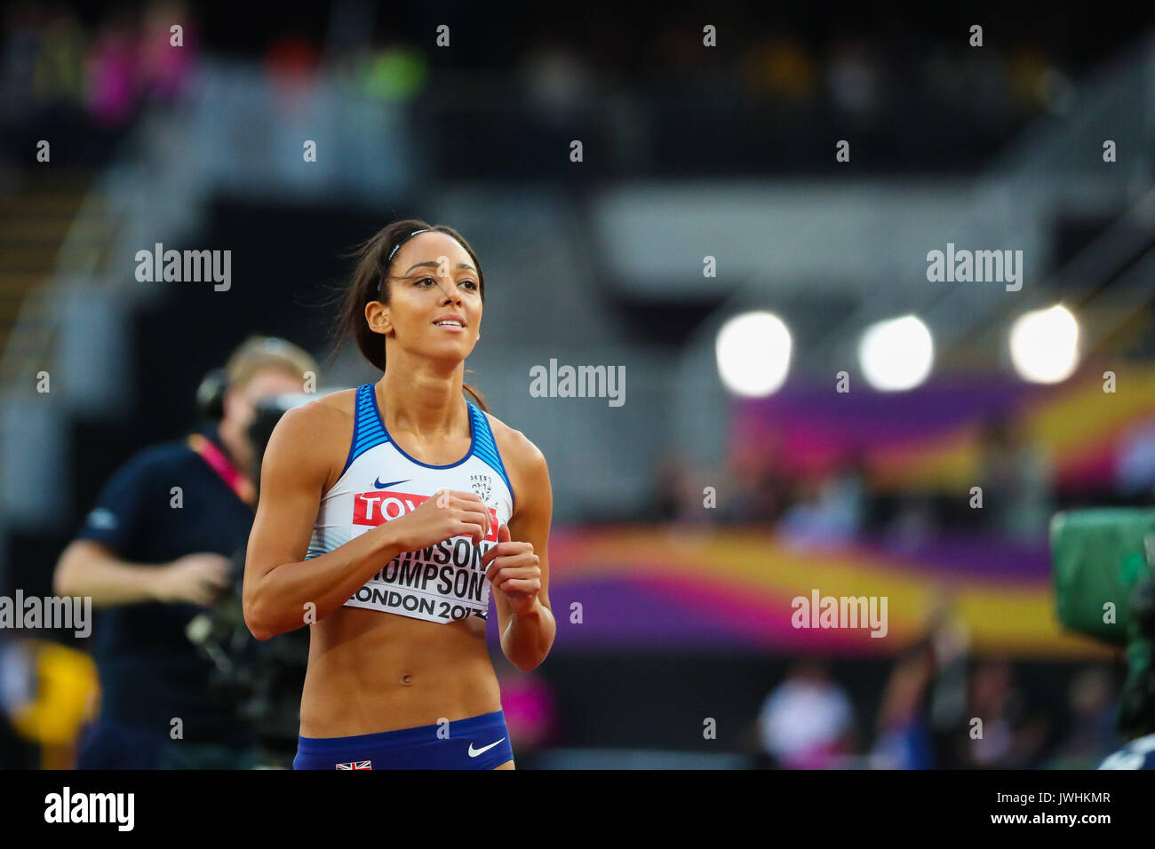 Katarina Johnson-Thompson, Great Britain, in the women's high jump final on day nine of the IAAF London 2017 world Championships at the London Stadium. © Paul Davey. - Stock Image