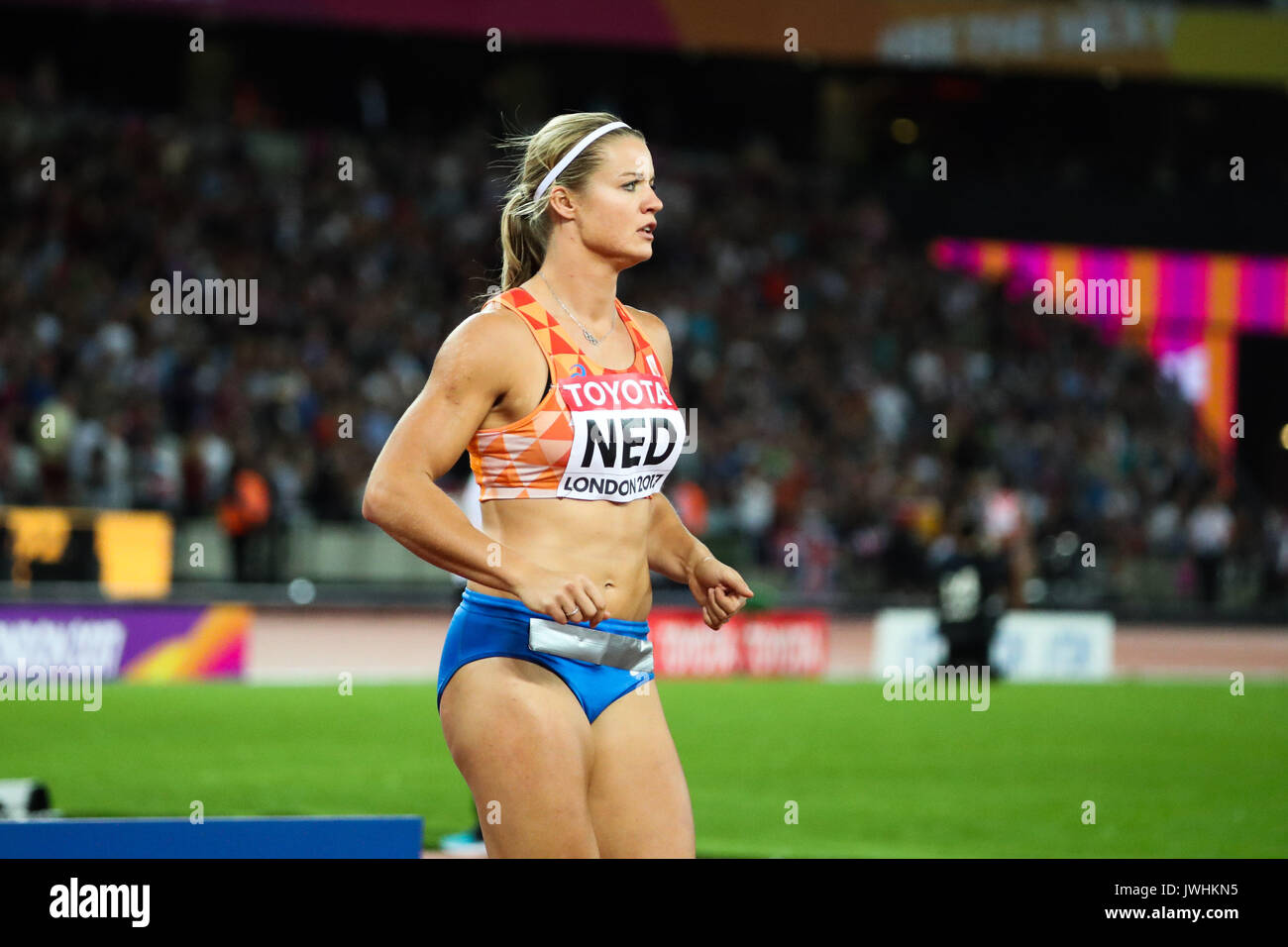 The Netherlands' Dafne Schippers ahead of the women's 4x100m relay on day nine of the IAAF London 2017 world Championships at the London Stadium. © Paul Davey. - Stock Image