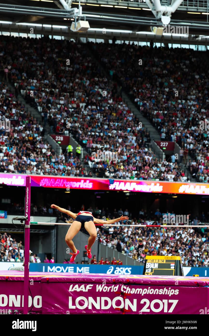 London, UK. 12th Aug, 2017.  Michaela Hrubá, Czech Republic, the women's high jump final on day nine of the IAAF London 2017 world Championships at the London Stadium. Credit: Paul Davey/Alamy Live News - Stock Image