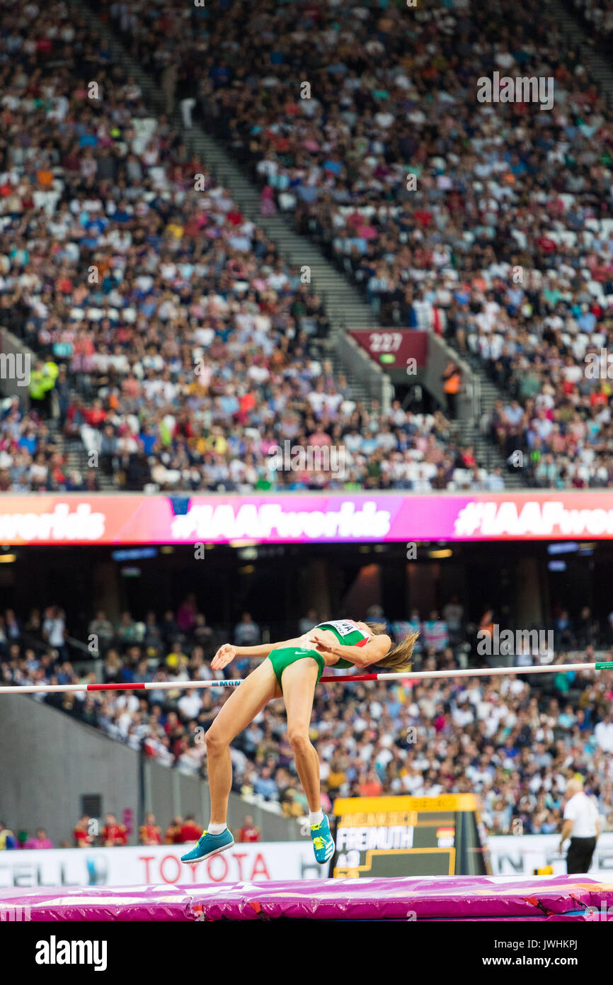 London, UK. 12th Aug, 2017.  Airiné Palšyté, Lithuania, in the women's high jump final on day nine of the IAAF London 2017 world Championships at the London Stadium. Credit: Paul Davey/Alamy Live News - Stock Image