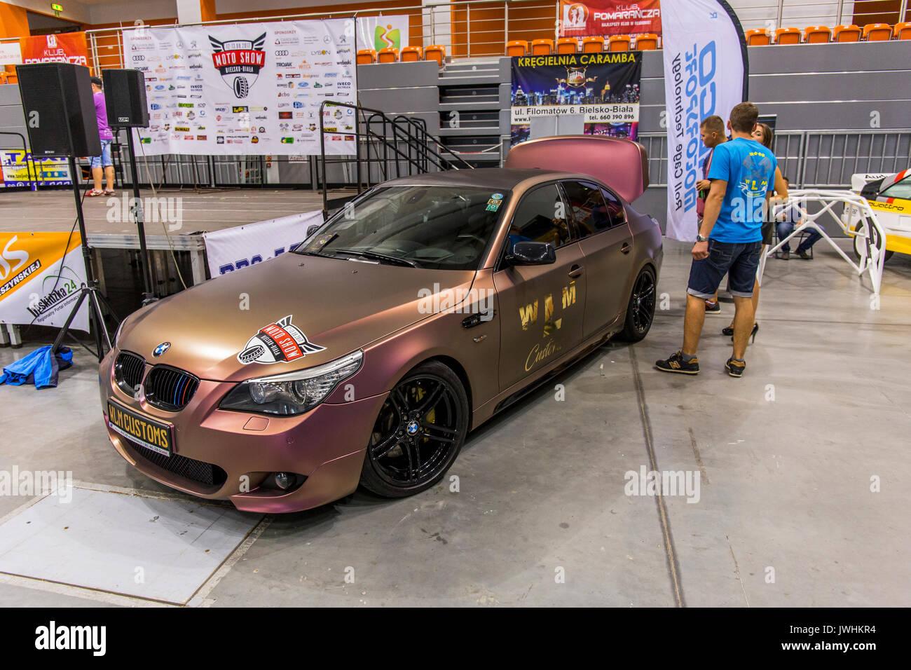 Bielsko-Biala, Poland. 12th Aug, 2017. International automotive trade fairs - MotoShow Bielsko-Biala. BMW E60 parked Stock Photo