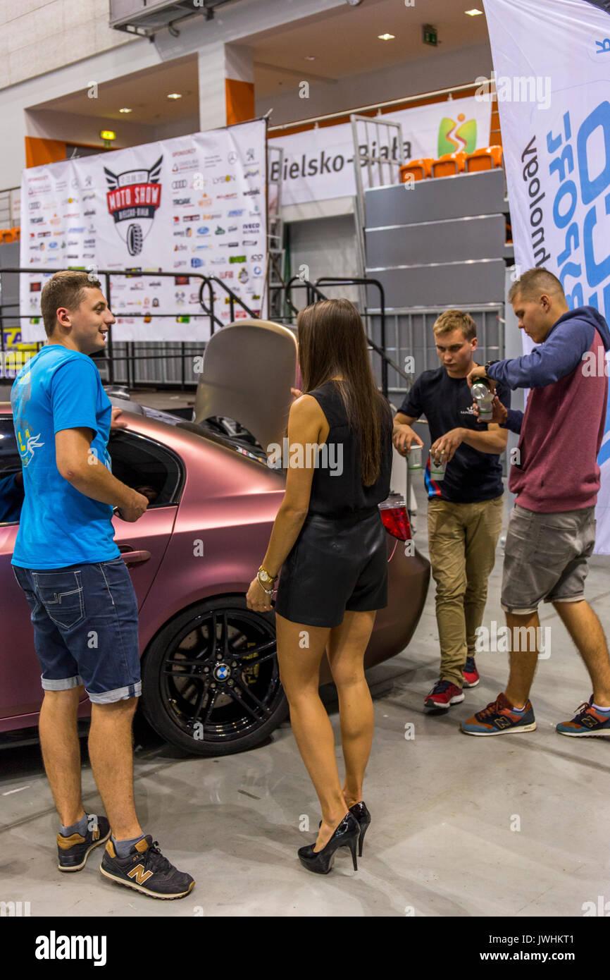 Bielsko-Biala, Poland. 12th Aug, 2017. International automotive trade fairs - MotoShow Bielsko-Biala. People talking Stock Photo