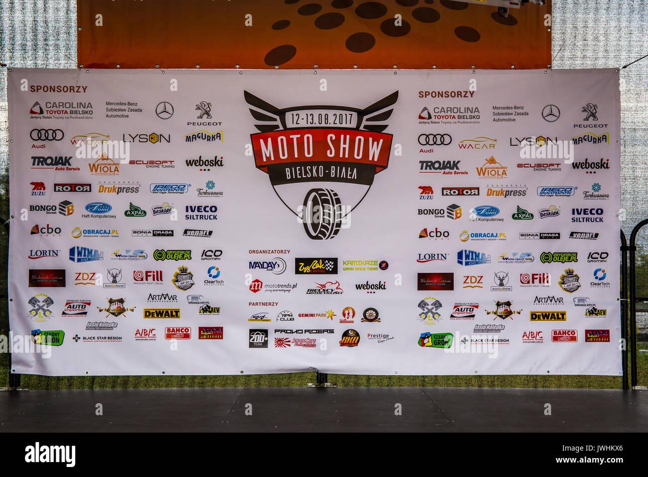 Bielsko-Biala, Poland. 12th Aug, 2017. International automotive trade fairs - MotoShow Bielsko-Biala. Motoshow billboard. Stock Photo