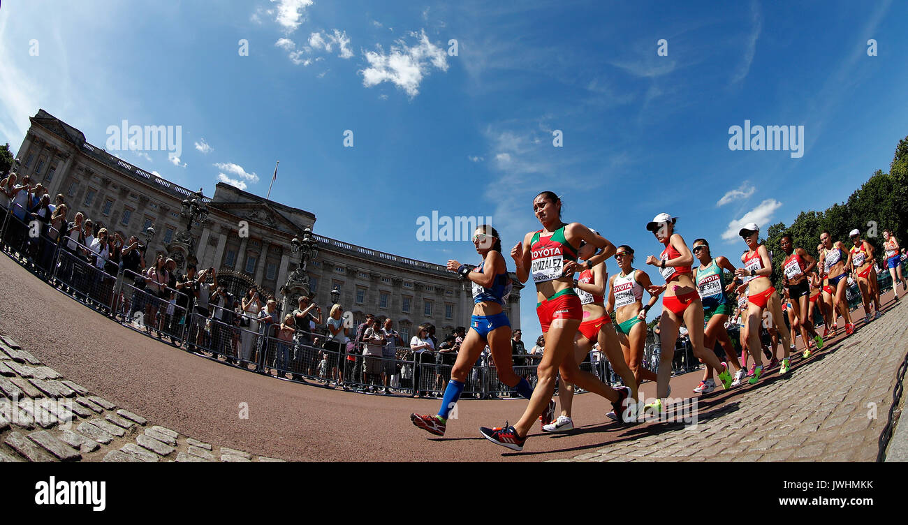 London, Britain. 13th Aug, 2017. Athletes compete during Women's 20km Race Walk on Day 10 of the 2017 IAAF World Stock Photo