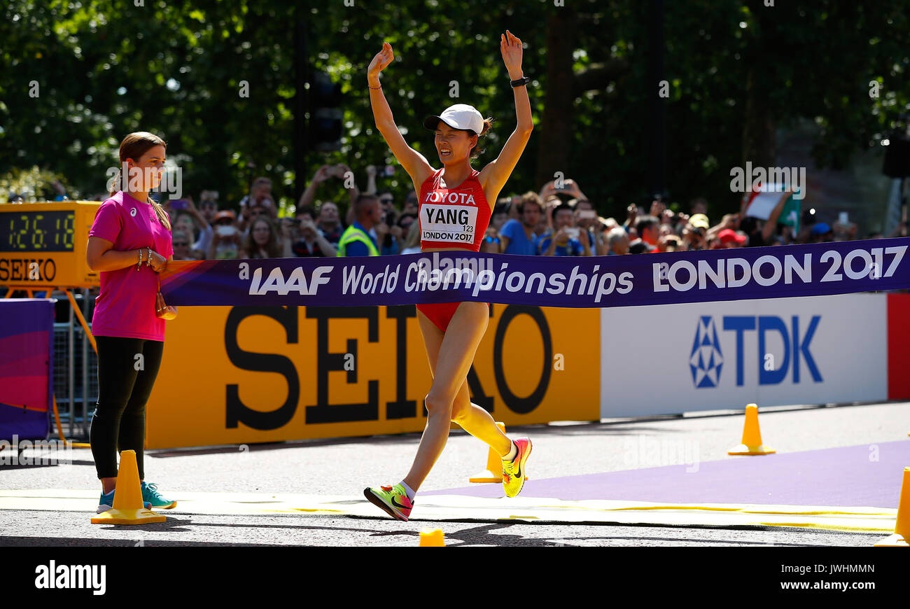 London, Britain. 13th Aug, 2017. Yang Jiayu of China celebrates as she racing to the finish line during Women's Stock Photo