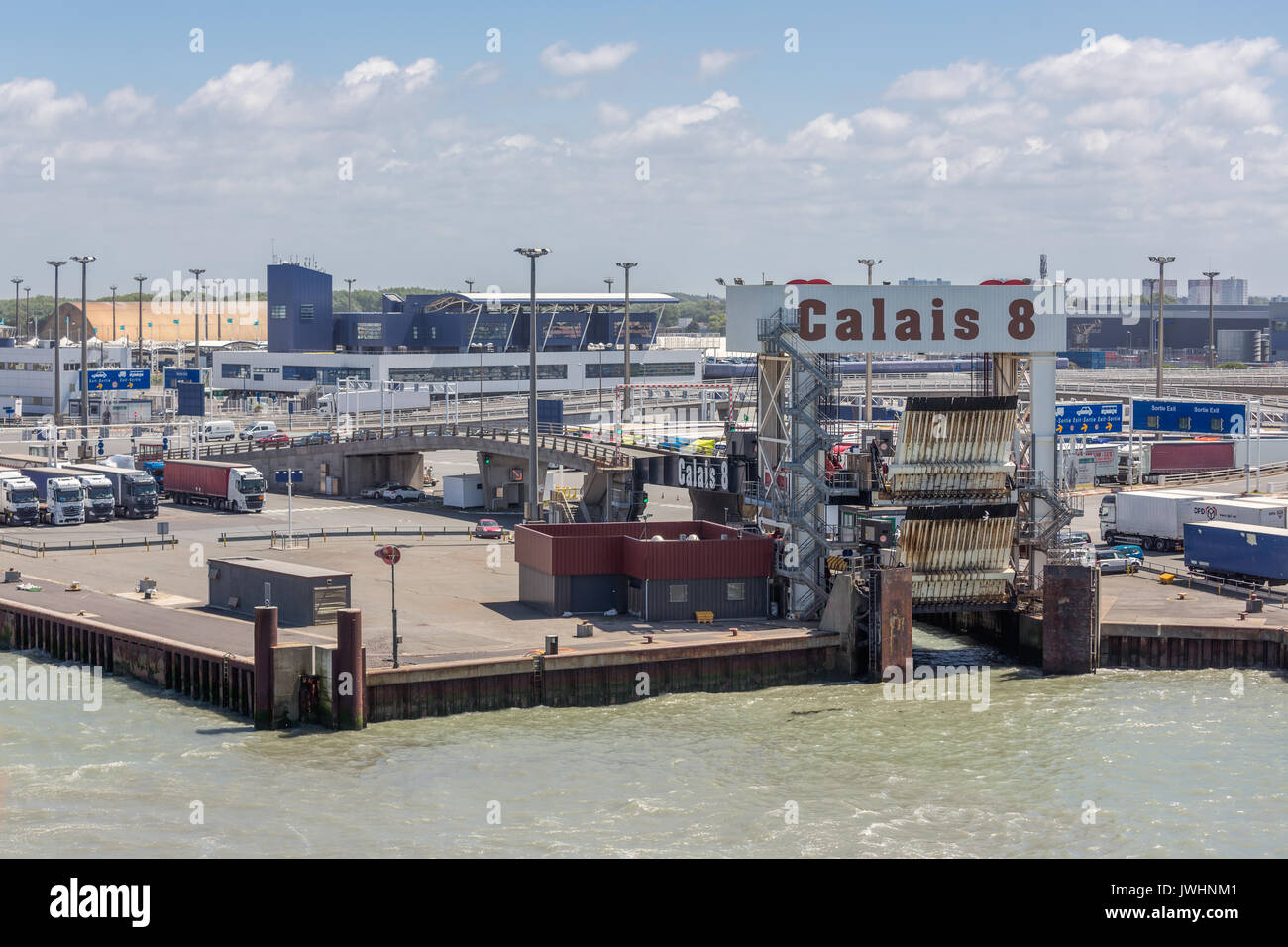 HARBOR CALAIS, FRANCE - JUNE 07, 2017: Port of Calais with trucks waiting for embarking at the ferry to Engeland - Stock Image