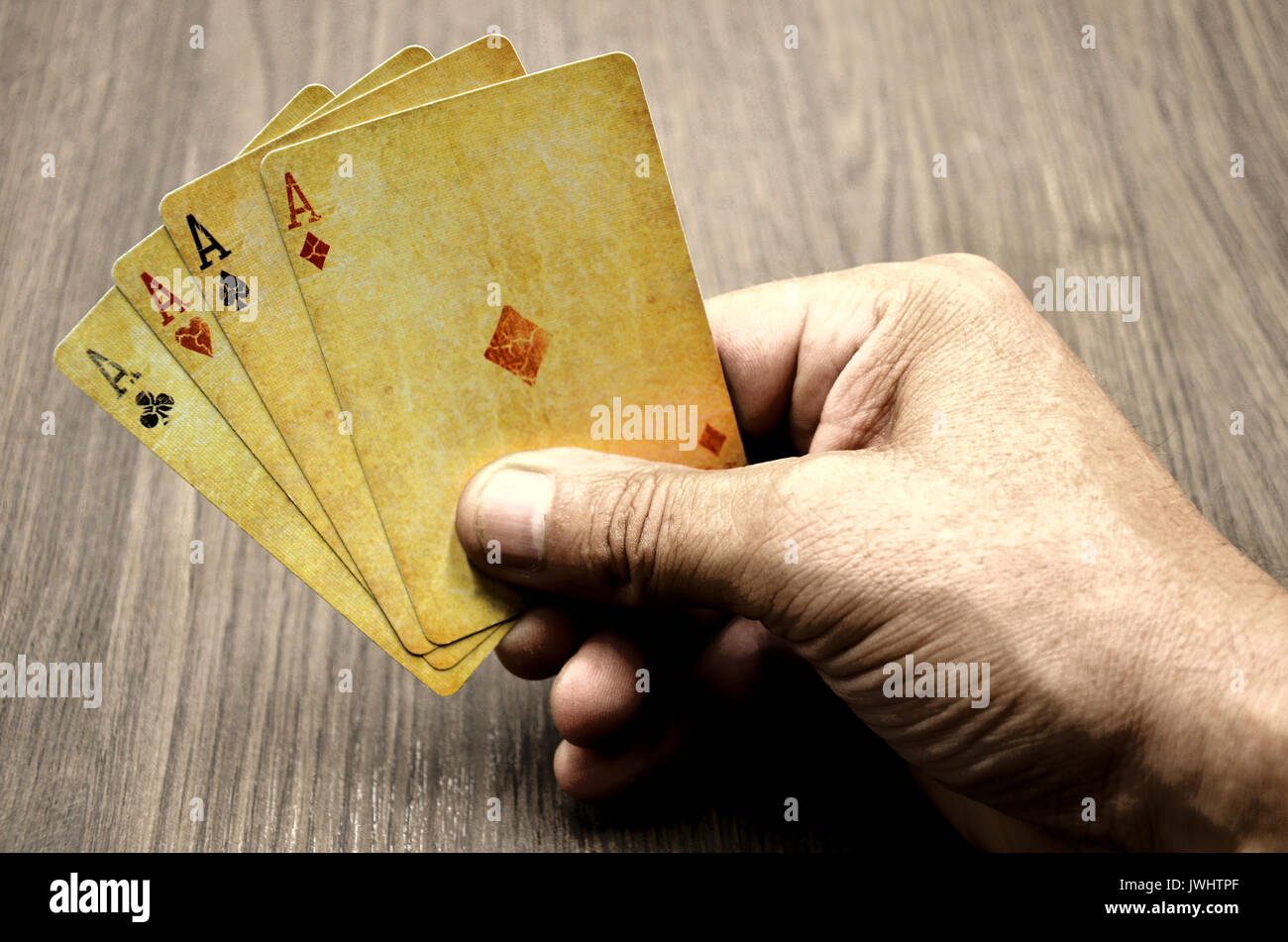 human hand with Poker cards - Stock Image
