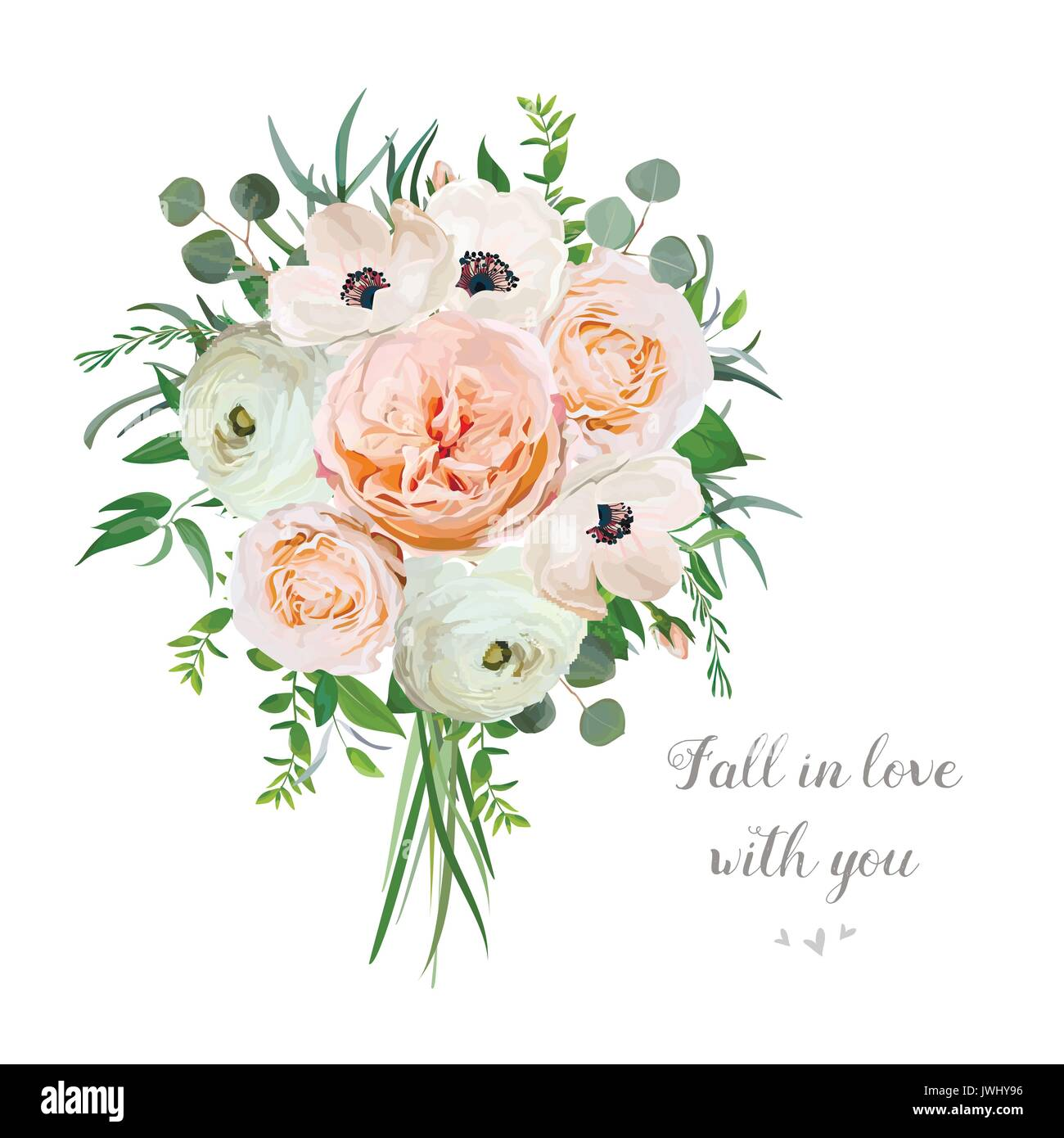 Flower Floral Vector Bouquet Of Garden Pink Rose Anemone Ranunculus Stock Vector Image Art Alamy