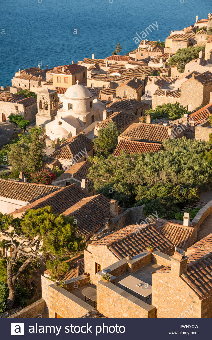 View looking down on Monemvasia - Stock Image