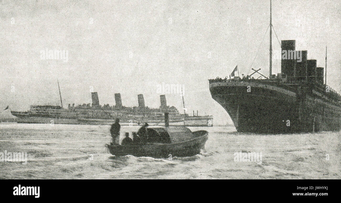 Ocean liners  Aquitania & Olympic (Titanic's sister ship) on war service, WW1 - Stock Image