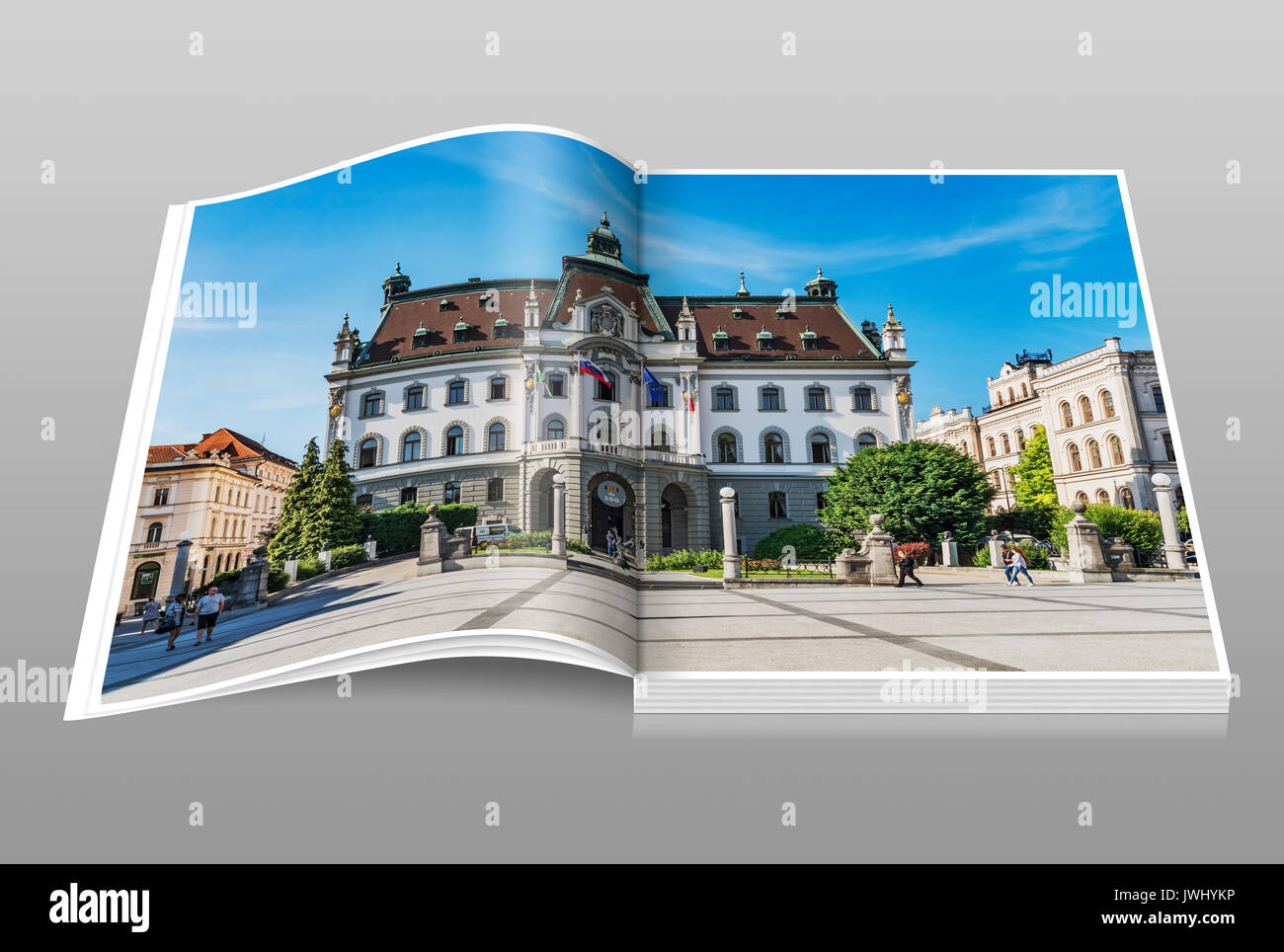 The University of Ljubljana. The main building is located on the square Kongresni trg in the old town of Ljubljana, Slovenia, Europe - Stock Image