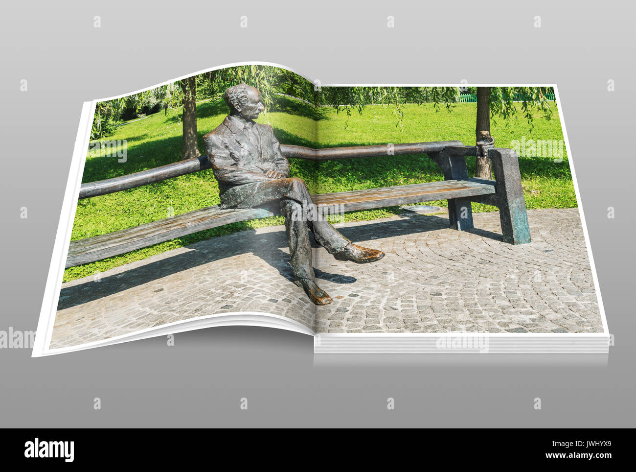 The statue of Edvard Kocbek is located in Tivoli Park, Ljubljana, Slovenia, Europe - Stock Image