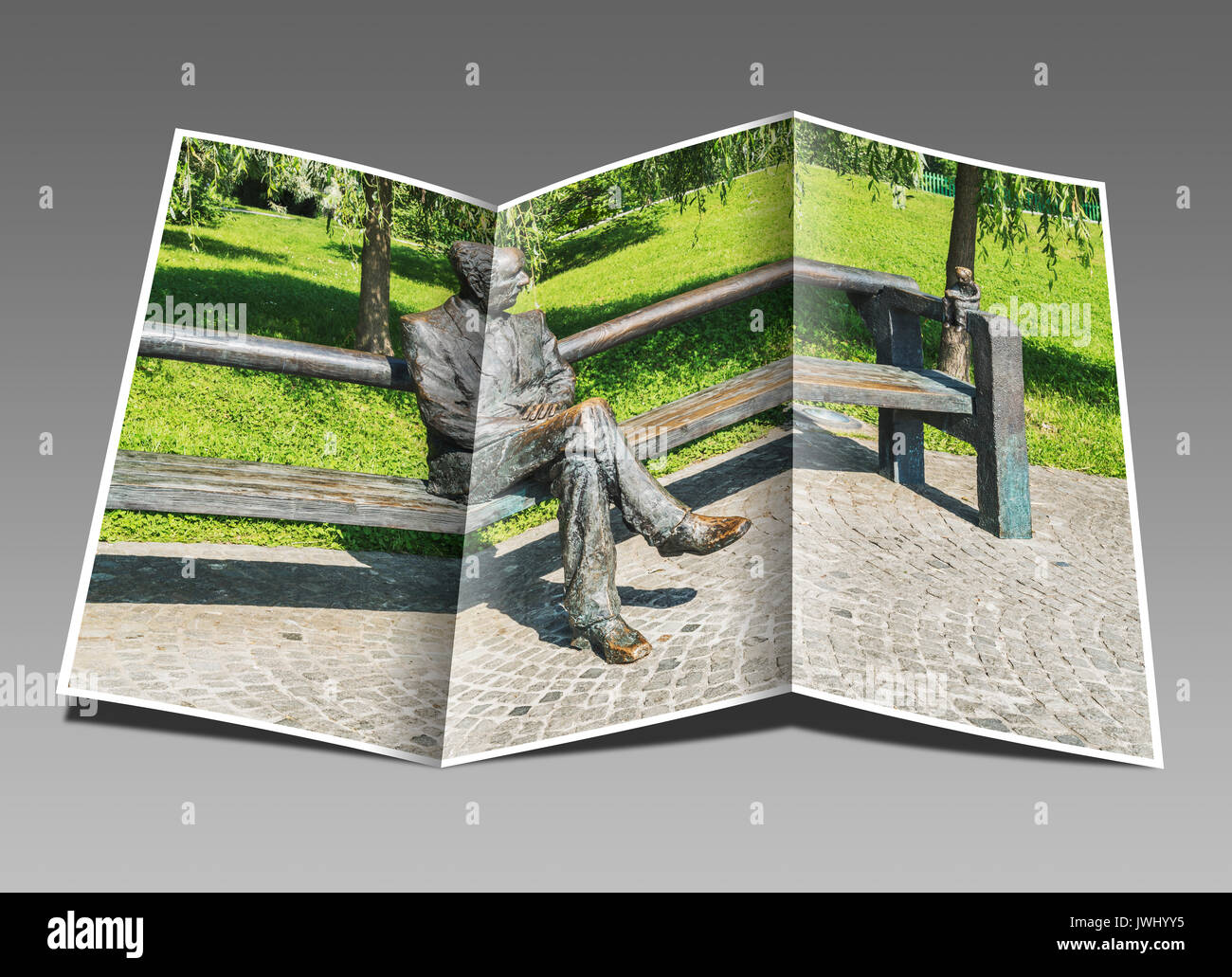 The statue of Edvard Kocbek is located in Tivoli Park, Ljubljana, Slovenia, Europe - Stock Image