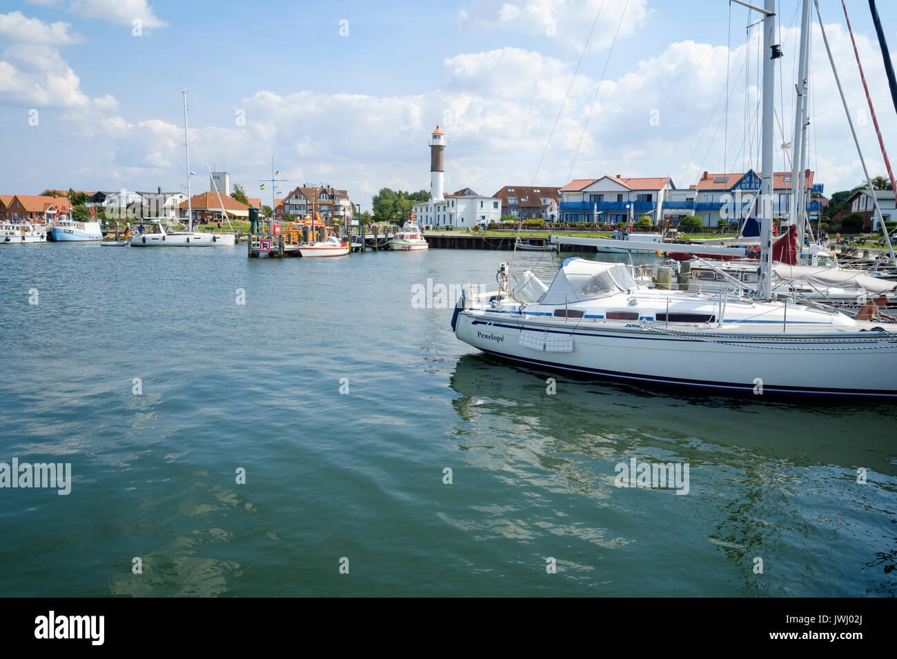 Timmendorf Harbour and Lighthouse, Poel, Mecklenburg-Vorpommern, Germany - Stock Image
