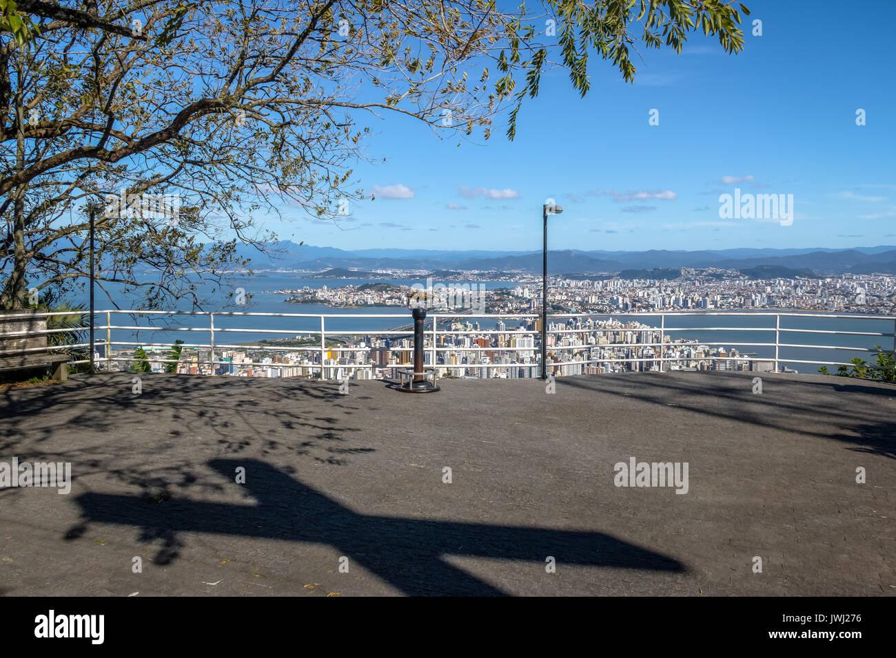 Morro da Cruz Viewpoint and Downtown Florianopolis City view - Florianopolis, Santa Catarina, Brazil - Stock Image