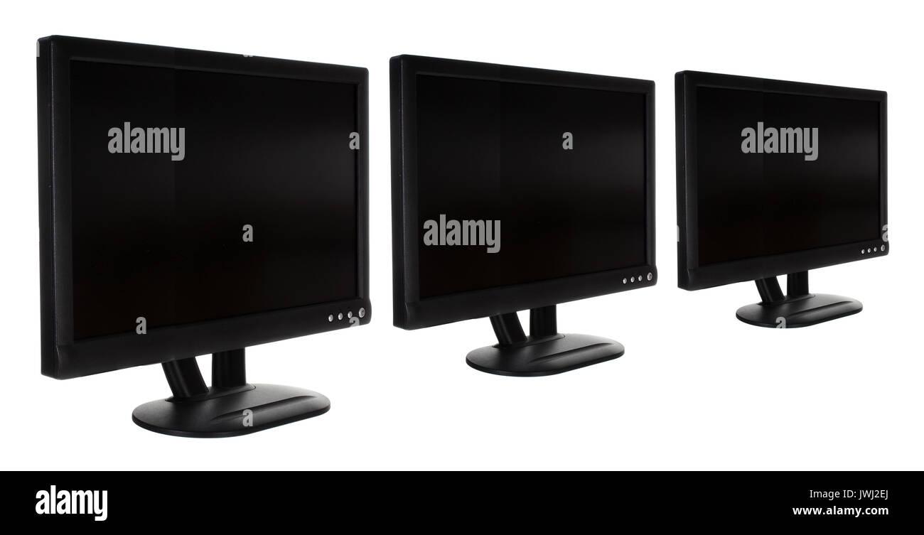 Monitors on White Background - Stock Image