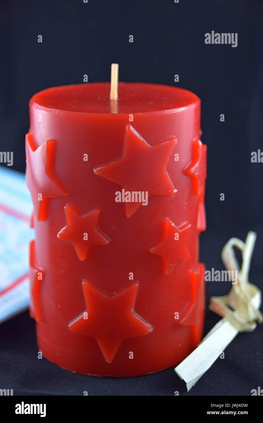 christmas candle with star pattern, tempus ante natale domini, Weihnachtskerze Stock Photo