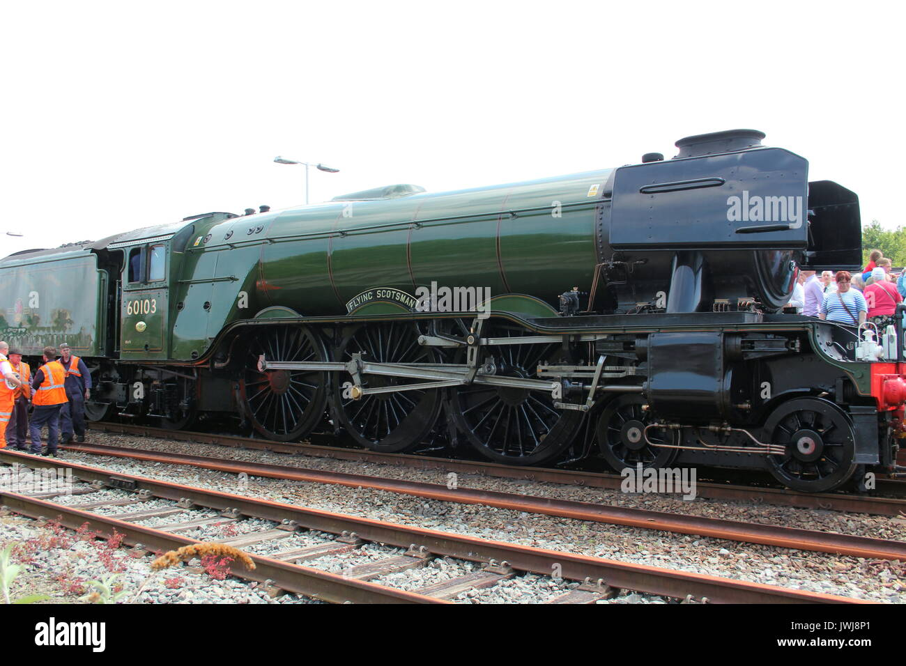 Steam train the flying Scotsman and the Royal scot in Llandudno North Wales - Stock Image