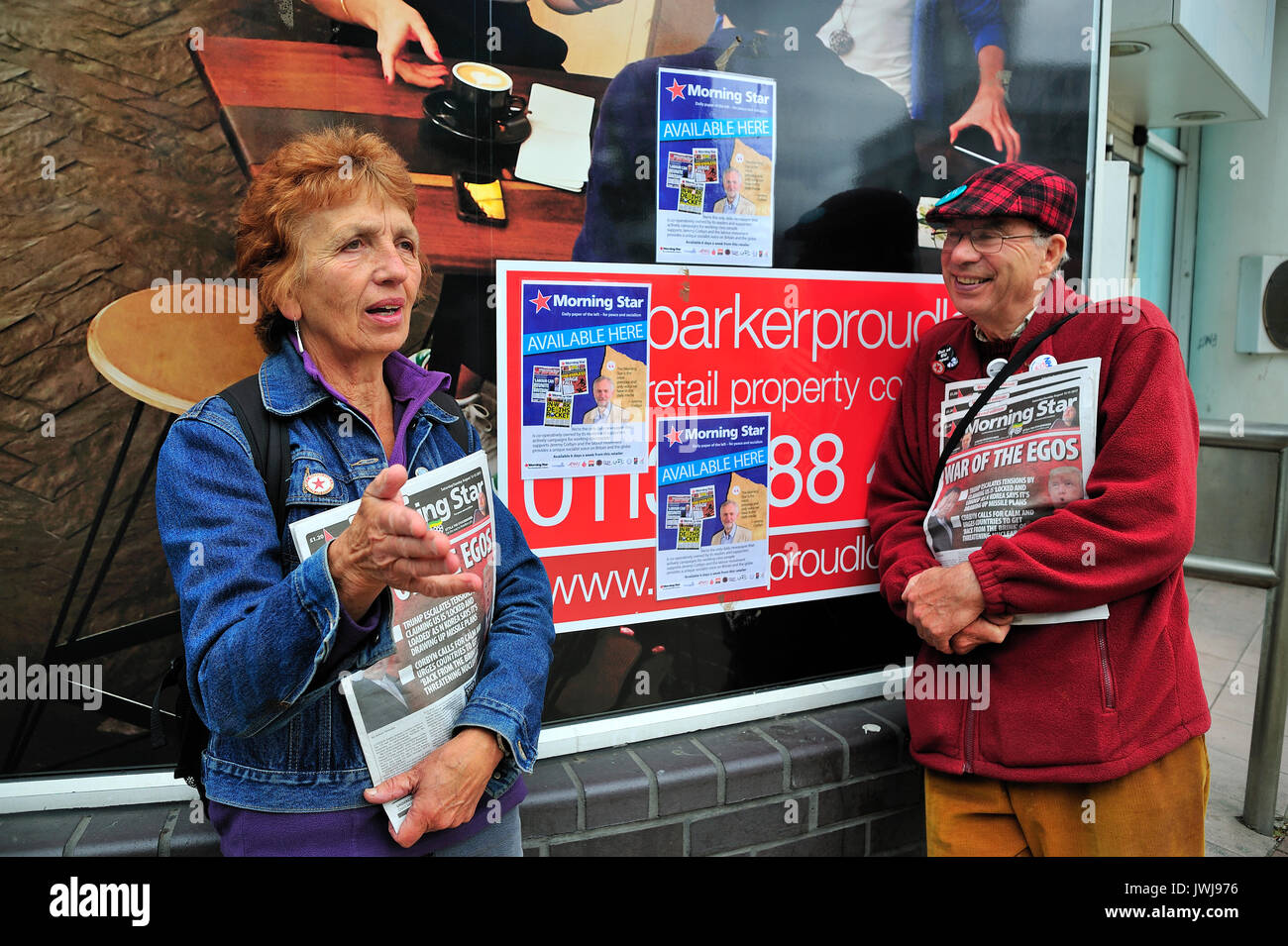 Left Wing Political Activists Sheffield City Centre Yorkshire England UK Stock Photo