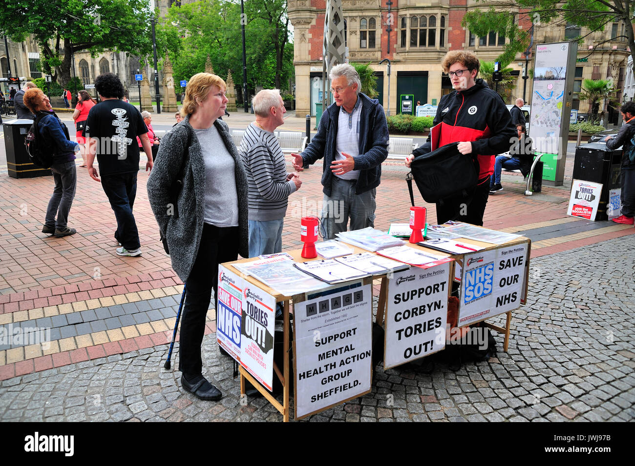 Political activists Sheffield South Yorkshire - Stock Image