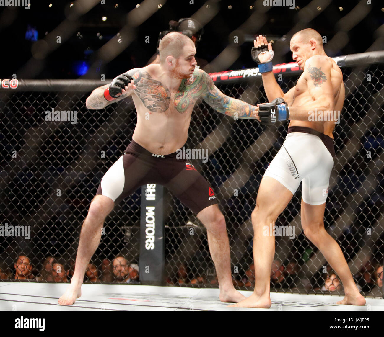 Jack Hermansson takes Brad Scott during UFC Fight Night 114 Mexico City,Mexico - Stock Image
