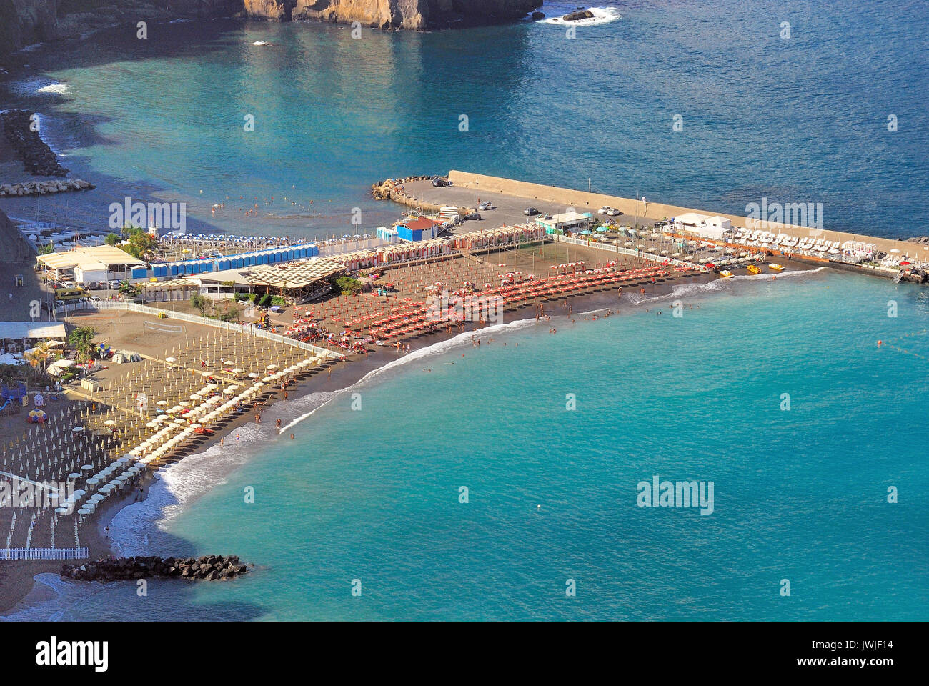 Gulf of Naples. A view of Sorrento coast, In the foreground Meta di Sorrento town and its beach - Stock Image