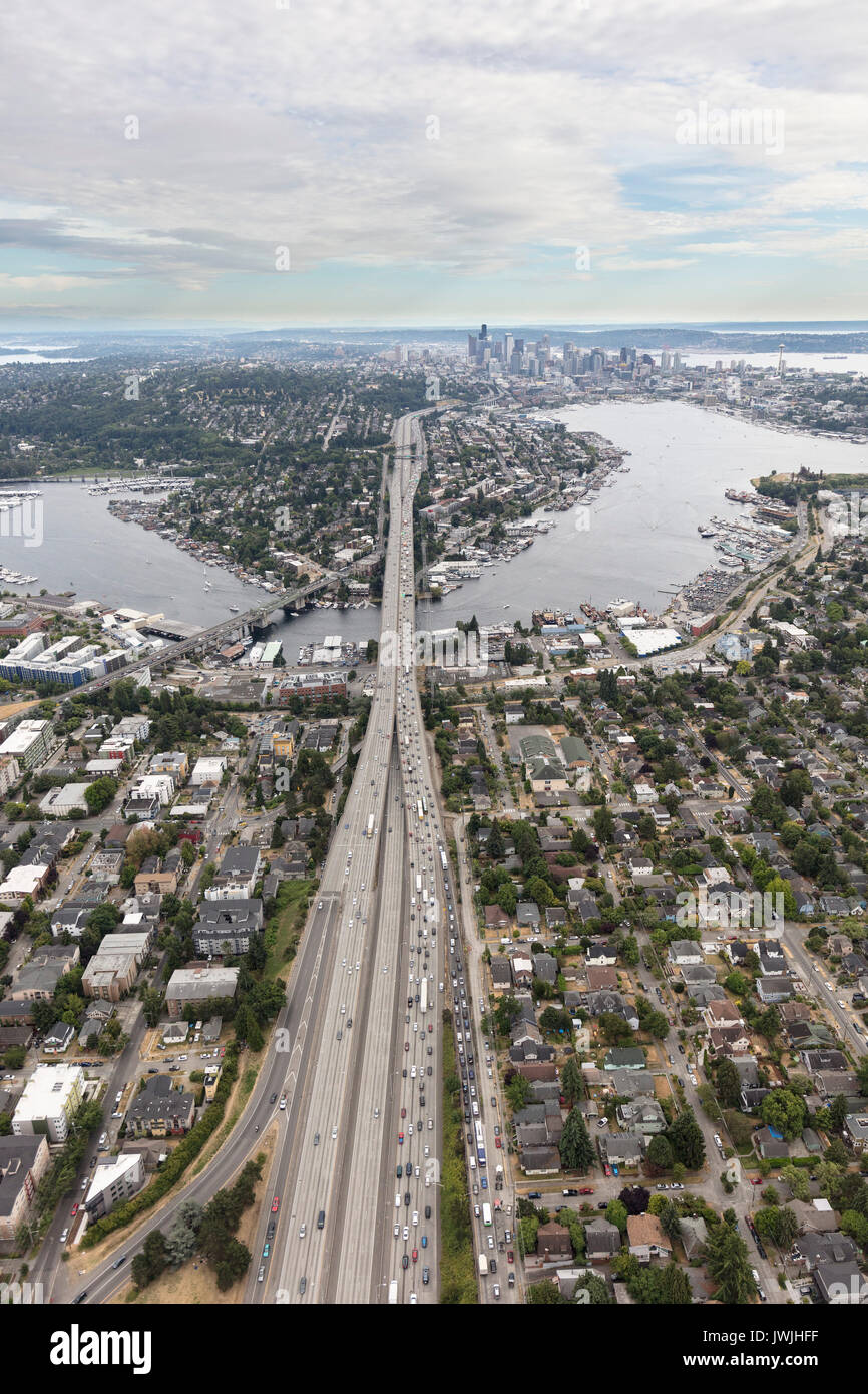 aerial view of I-5 Highway leading to downtown Seattle, WA, USA - Stock Image