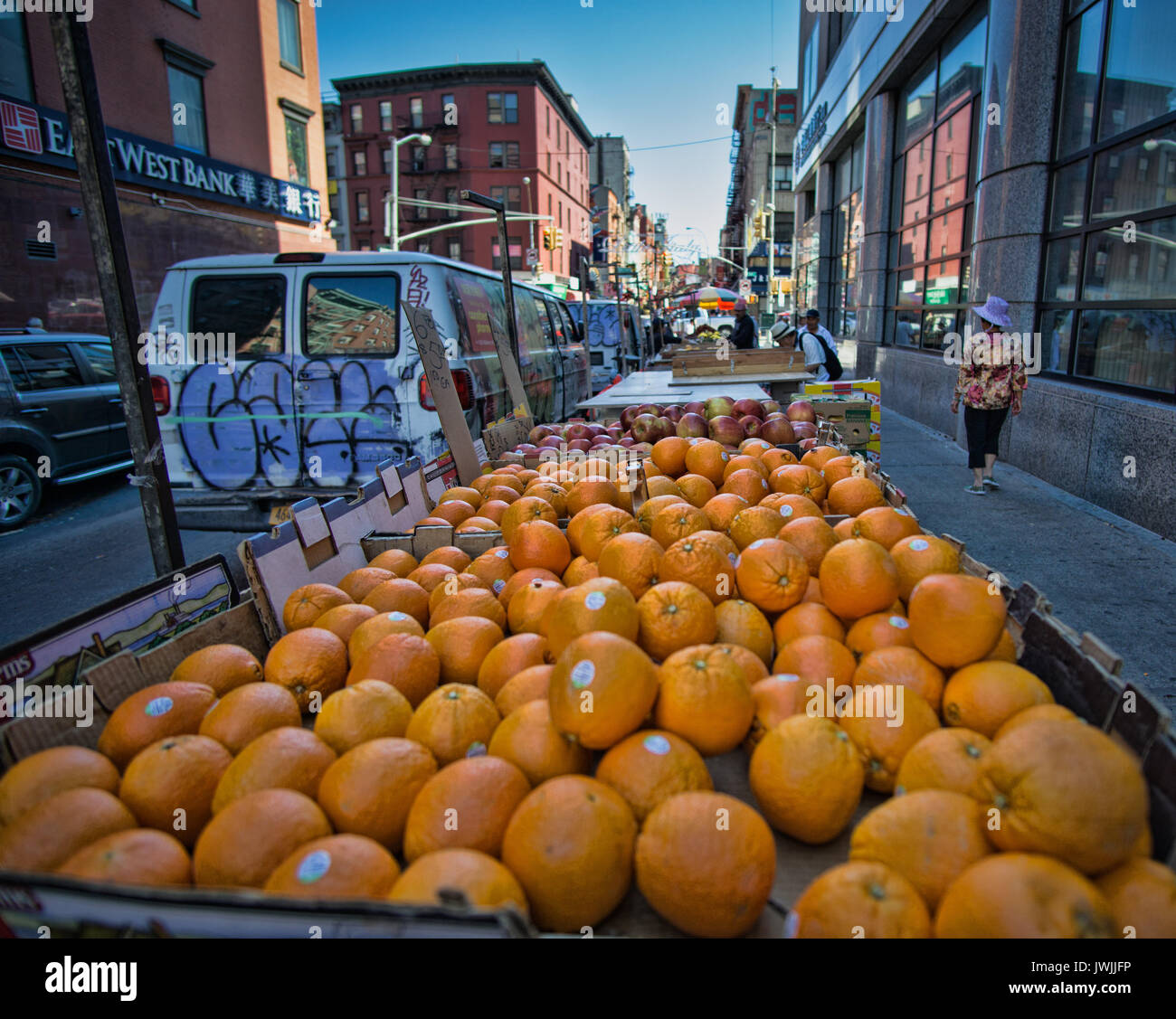fruit vendor Stock Photo