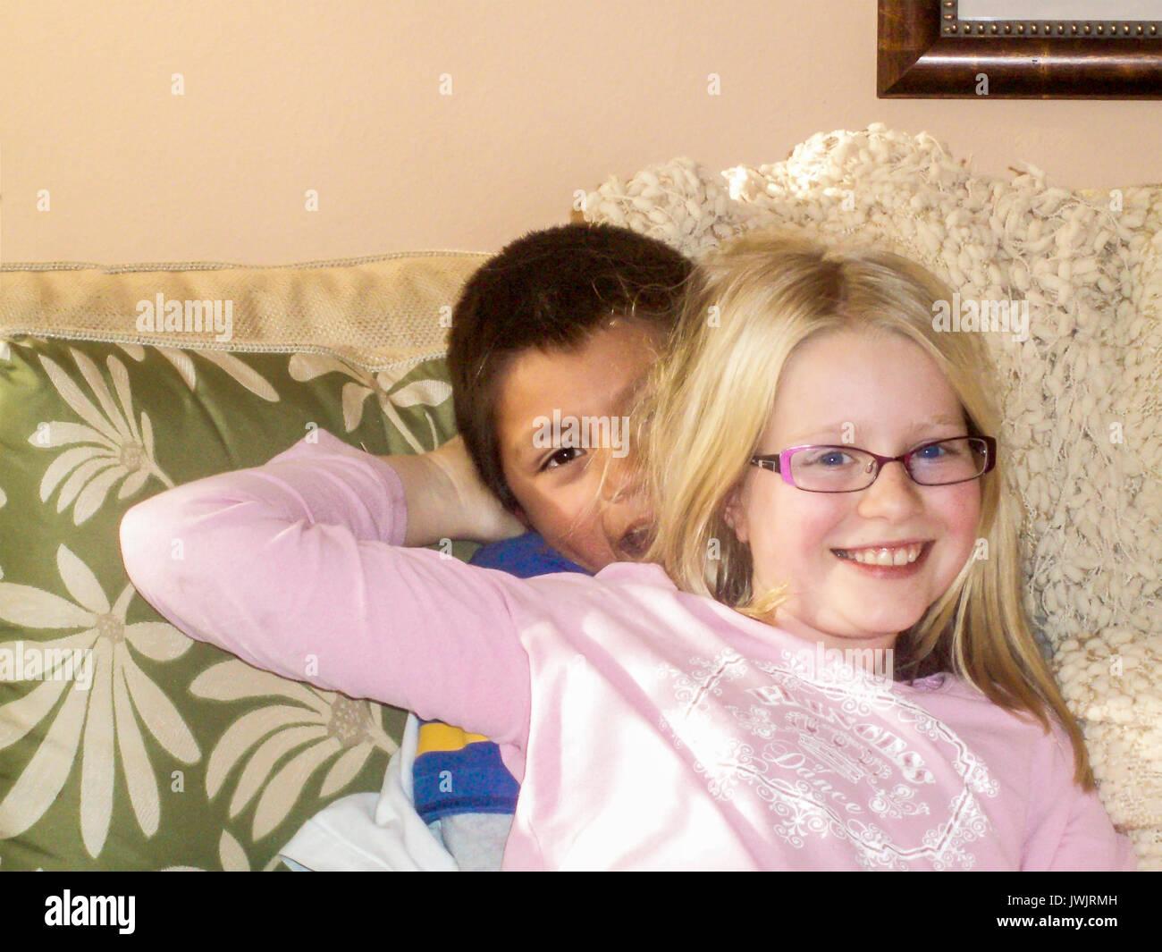 adopted siblings - Stock Image