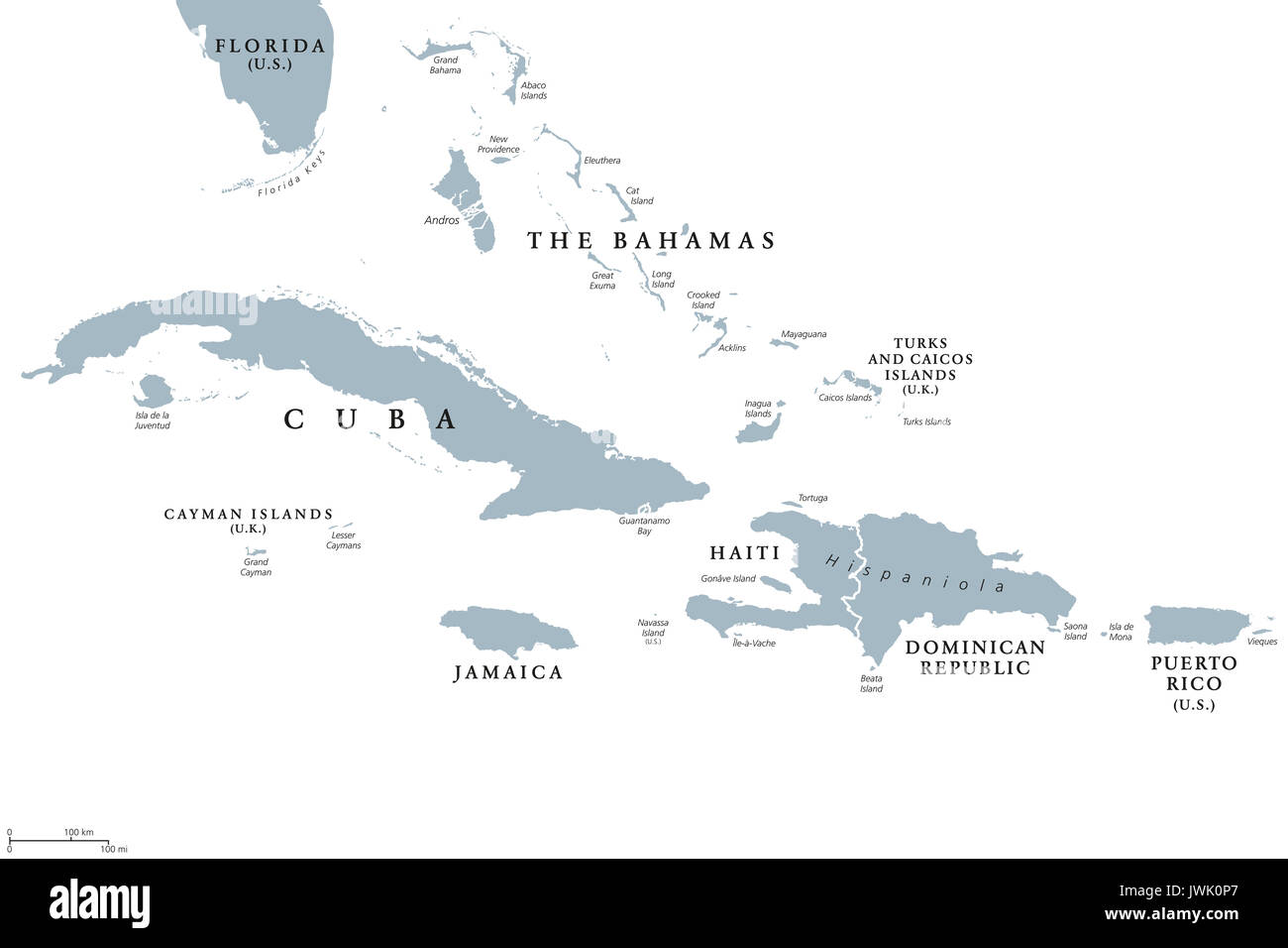 Greater Antilles political map with English labeling. Grouping of the larger islands in the Caribbean Sea with Cuba, Hispaniola, Puerto Rico, Jamaica. - Stock Image