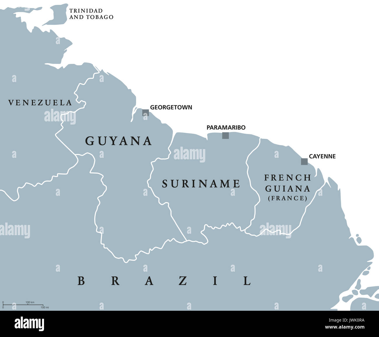 Guyana Suriname and French Guiana political map with capitals Stock