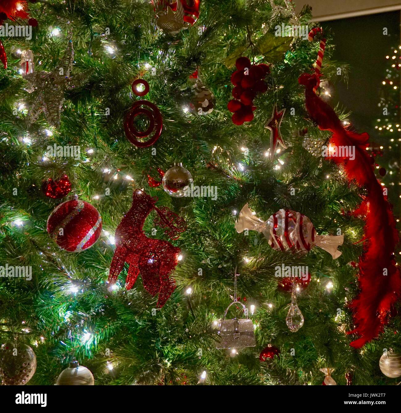 Night Time Shot Of Red And Silver Christmas Tree Decorations Stock Photo Alamy