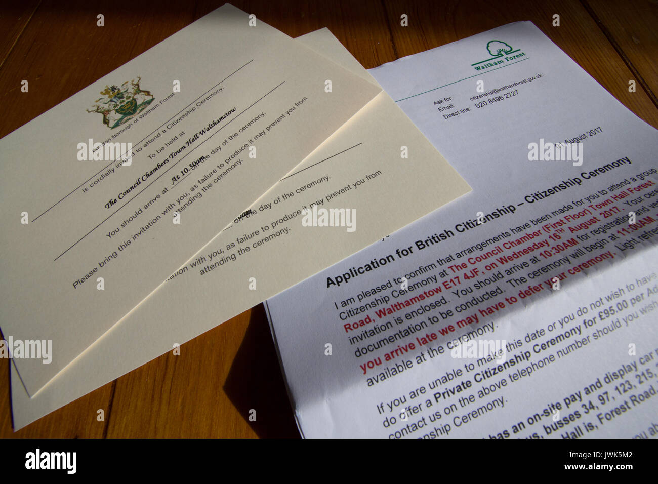 Waltham Forest Application for British citizen letter for Citizenship ceremony and invitations Stock Photo