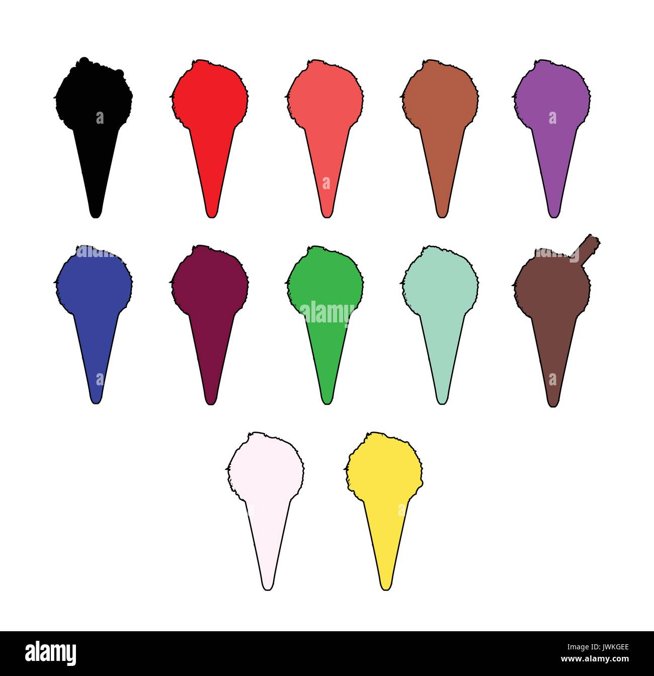 A colection of icecream cone icons on white - Stock Image