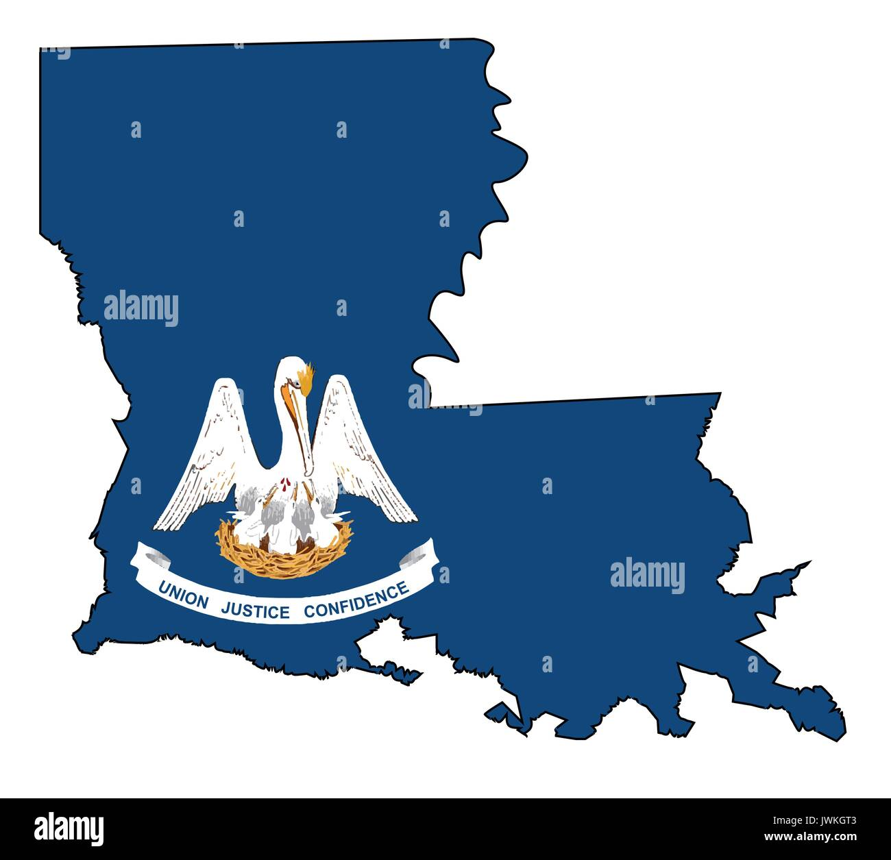 State map outline of Louisiana over a white background with flag