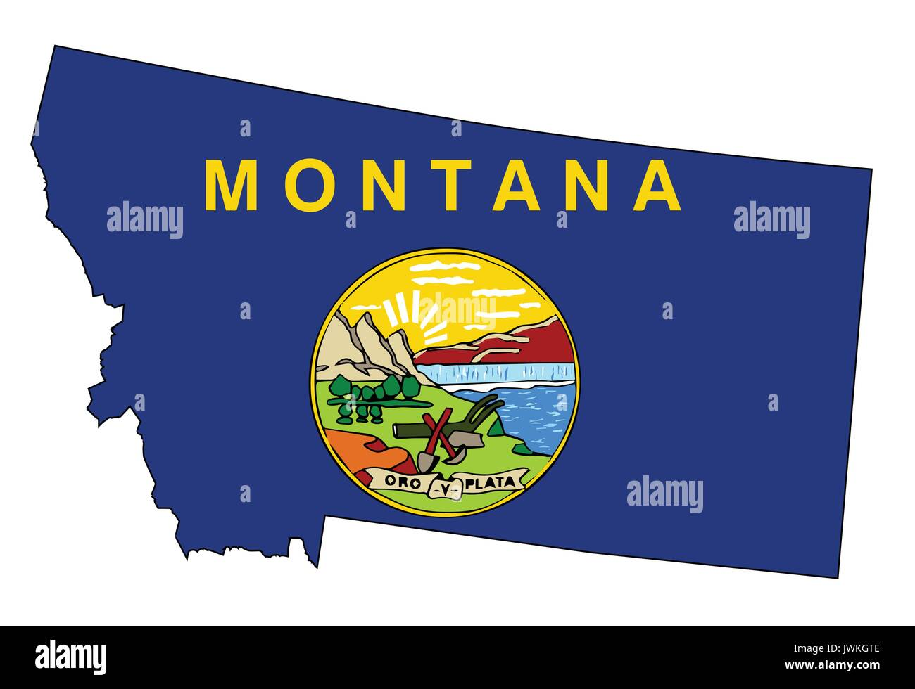 Outline of the state of Montana isolated with flag inset - Stock Vector