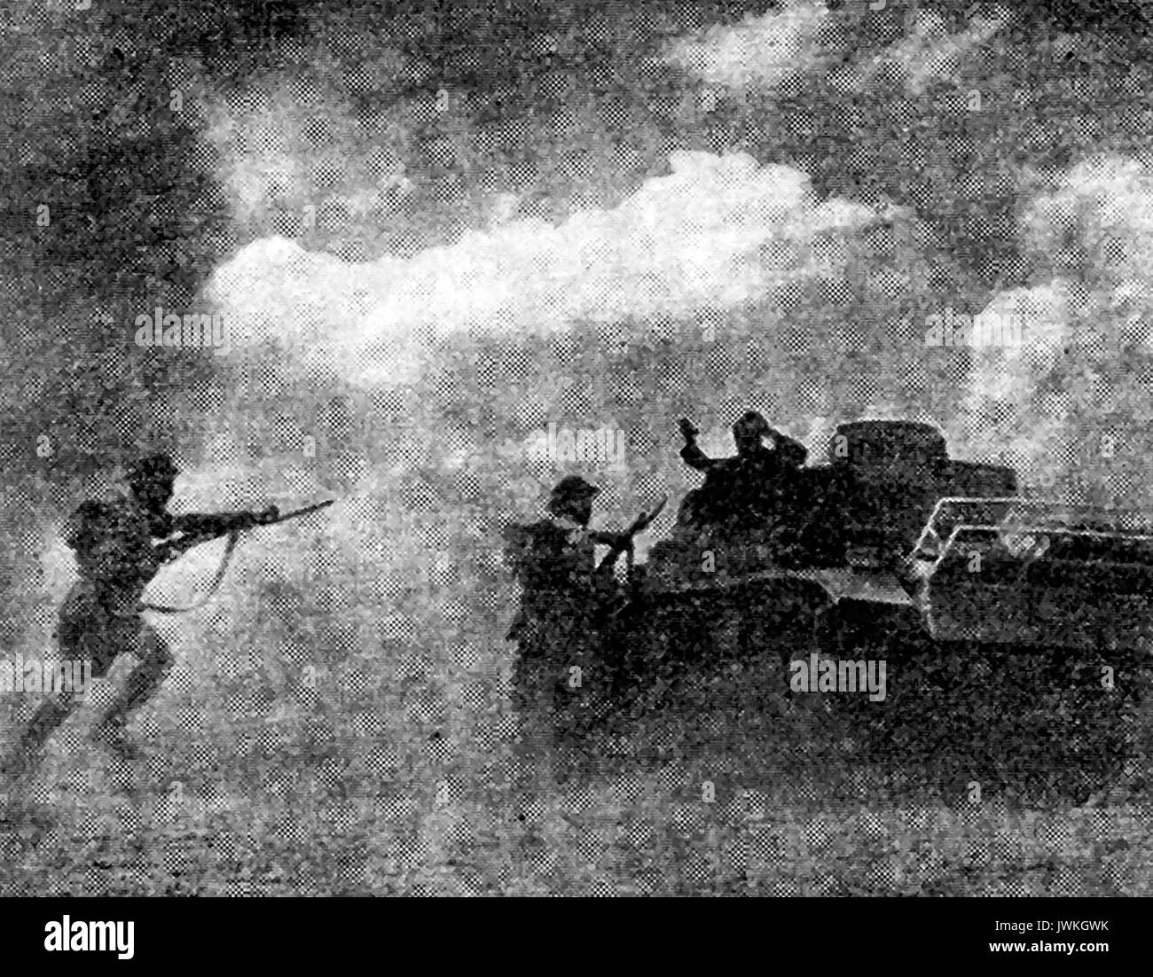 a 1942 depiction of the 1st battle of Alamein with a German tank crew surrendering to British forces. - Stock Image