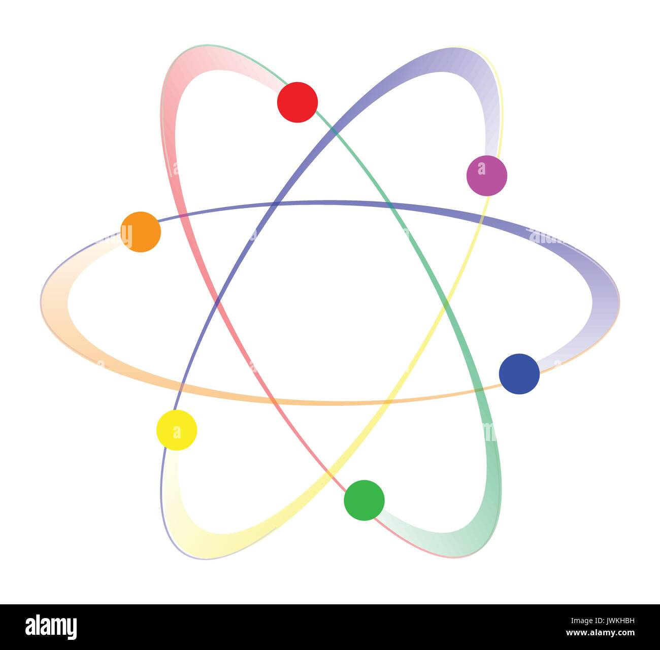 Whirling atoms in the LGBT colours over a white background - Stock Image