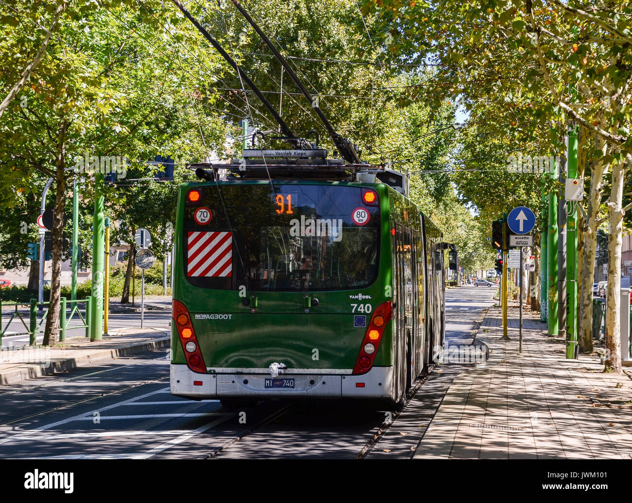 The number 91 bus in Milan, Italy is a 24 hour service on the ring-road of the city - Stock Image