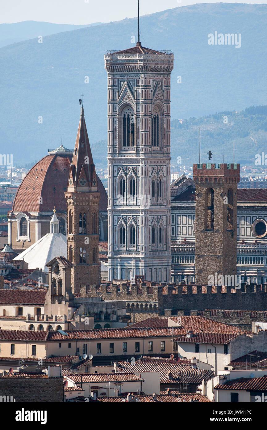 Badia Fiorentina, Bargello, Basilica San Lorenzo, Battistero di San Giovanni, Cattedrale di Santa Maria del Fiore Stock Photo